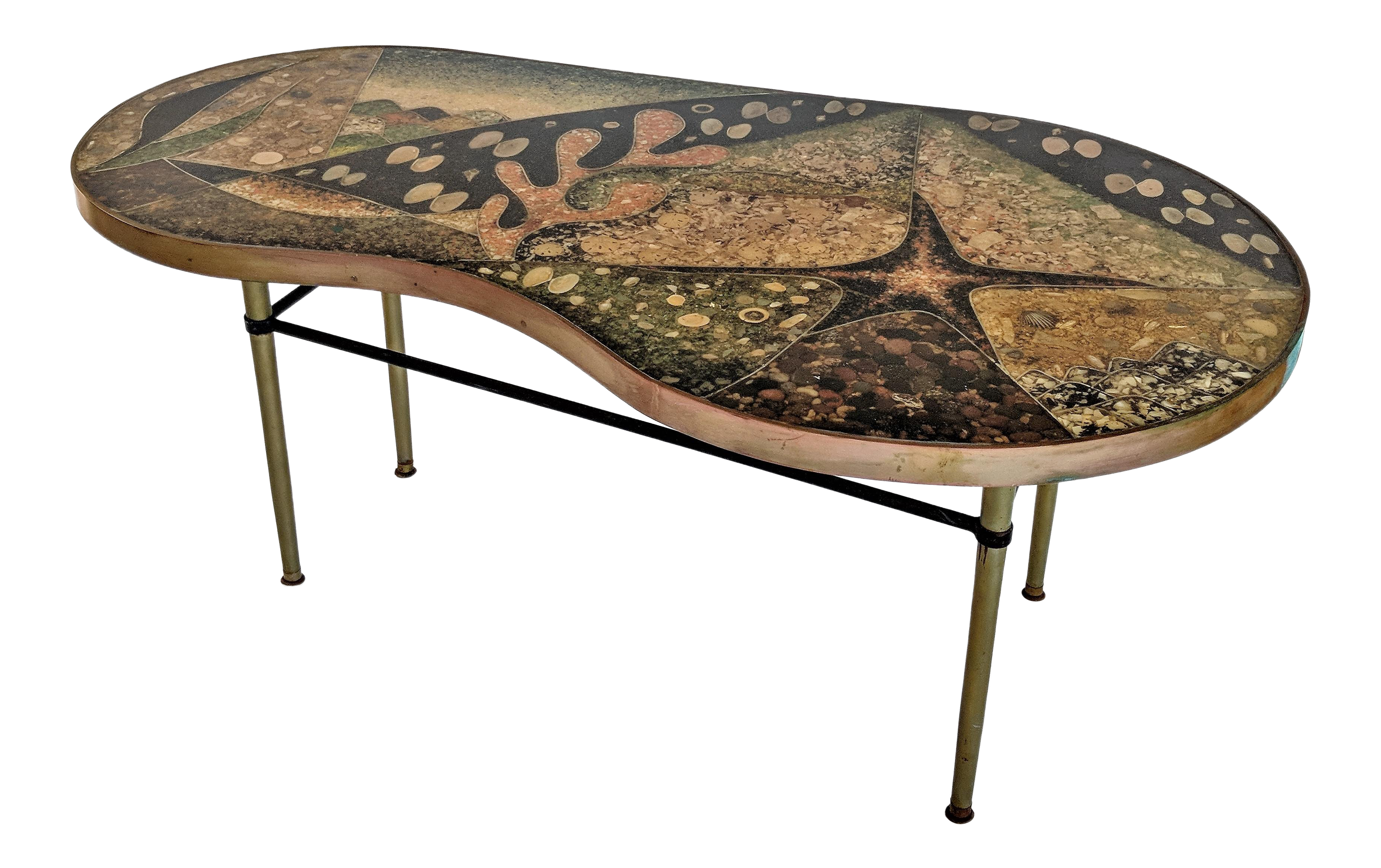 Terrific 1957 Mid Century Modern Inlaid Copper Resin Shell And Stone Coffee Table Ncnpc Chair Design For Home Ncnpcorg
