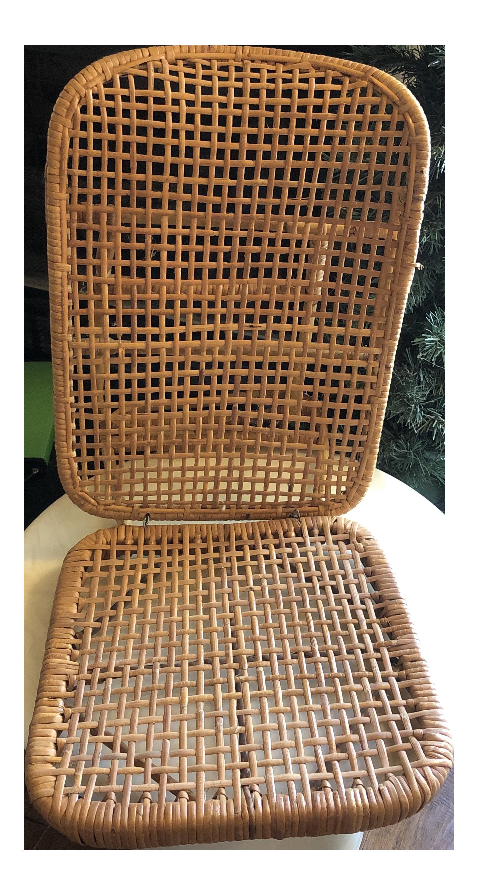 1950 S Vintage Wicker Rattan Folding Chair