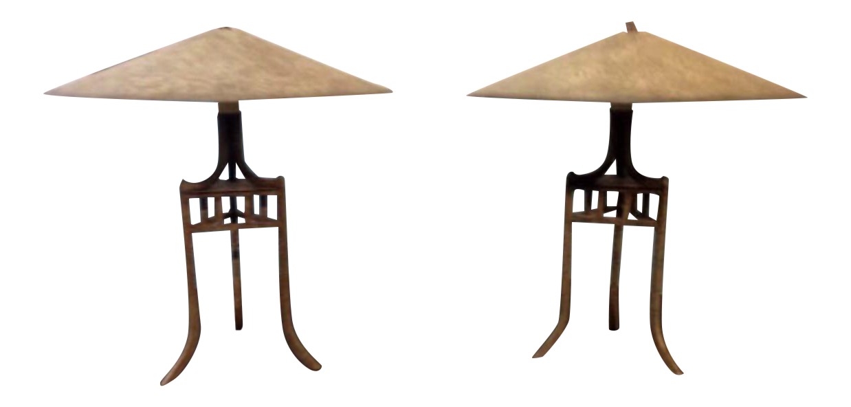 Asian Style Metal Saucer Table Lamps A Pair Chairish