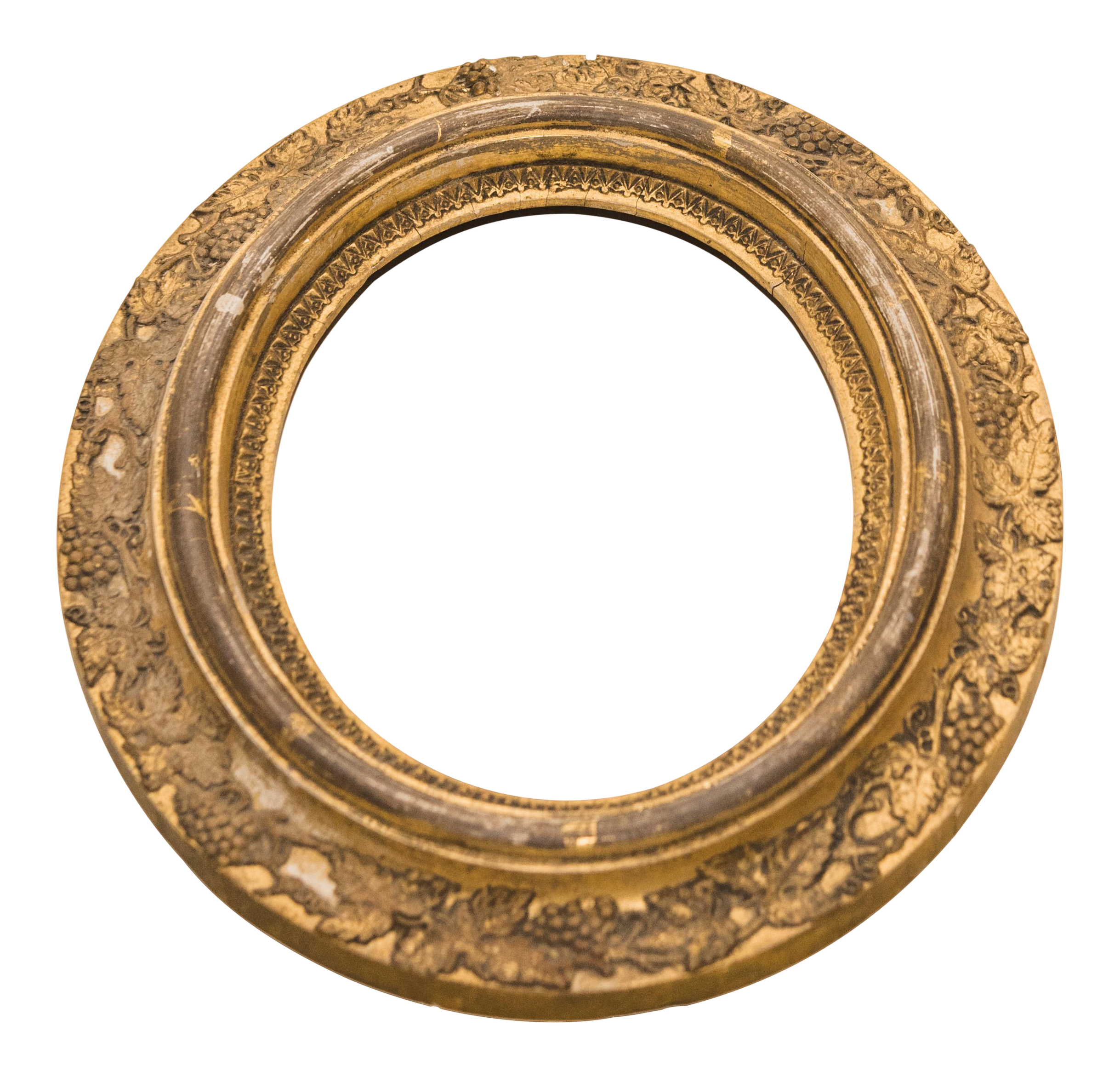 Gold Oval Frame with Carved Grapes | Chairish