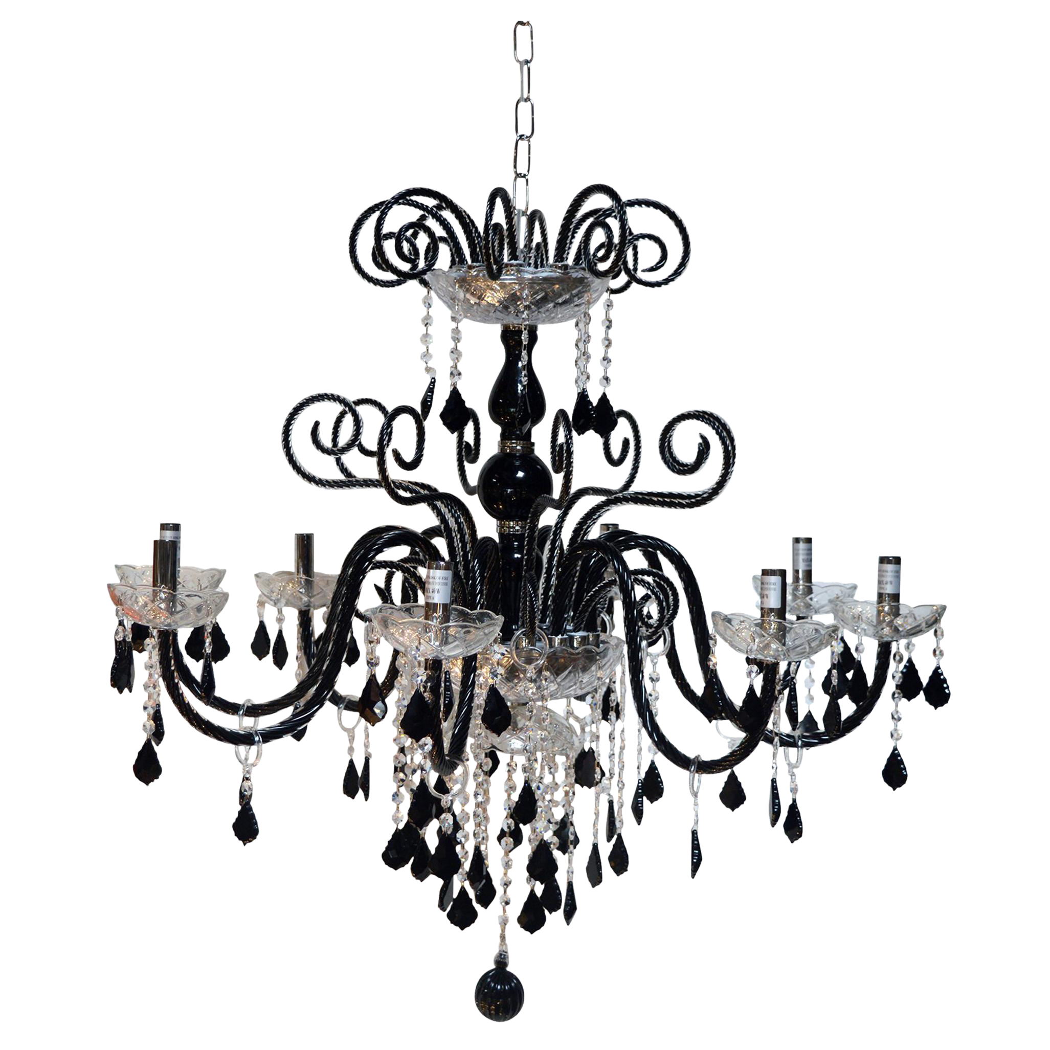 Black Murano Glass Chandelier Chairish