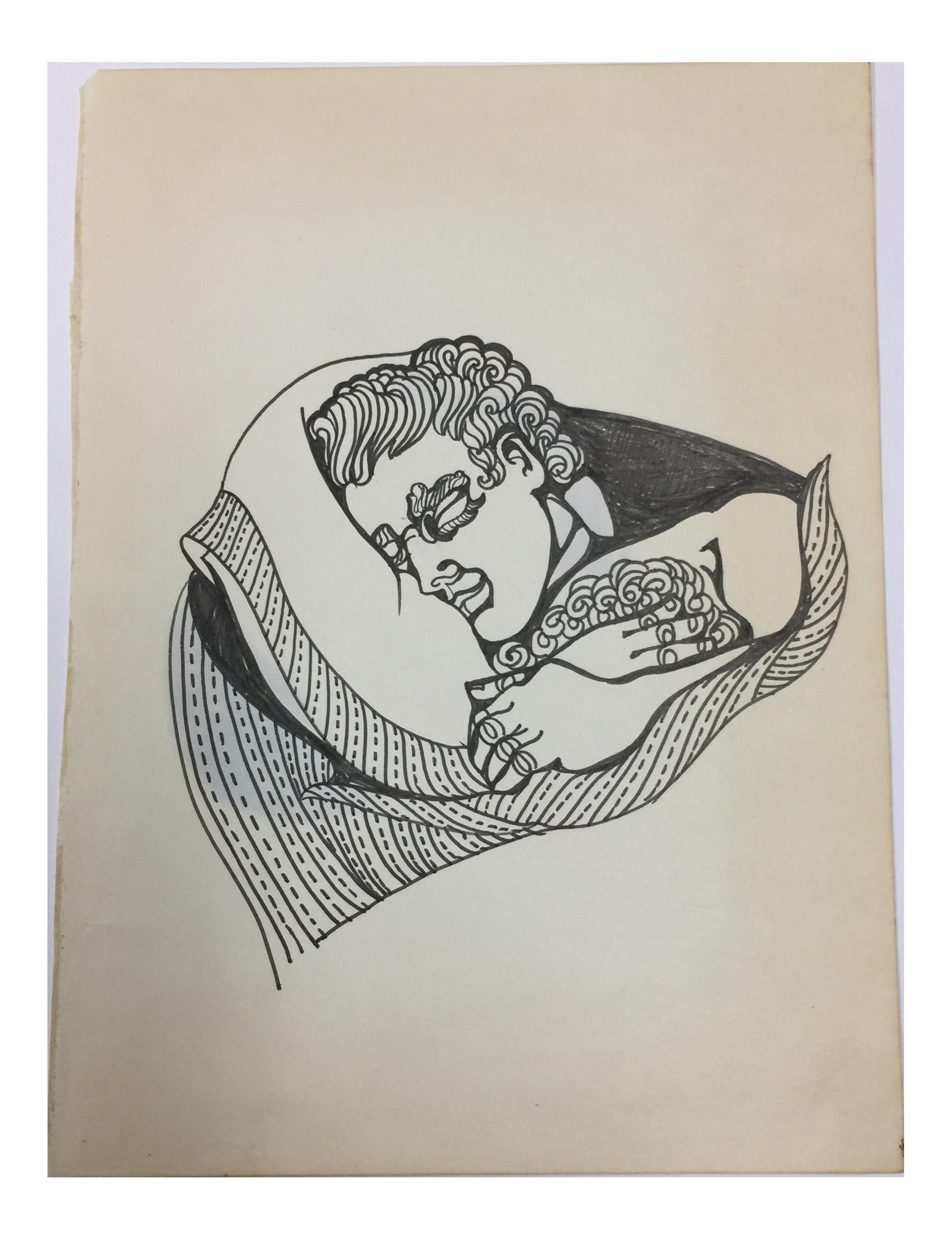 Sleeping Man Ink Drawing C 1980 Chairish