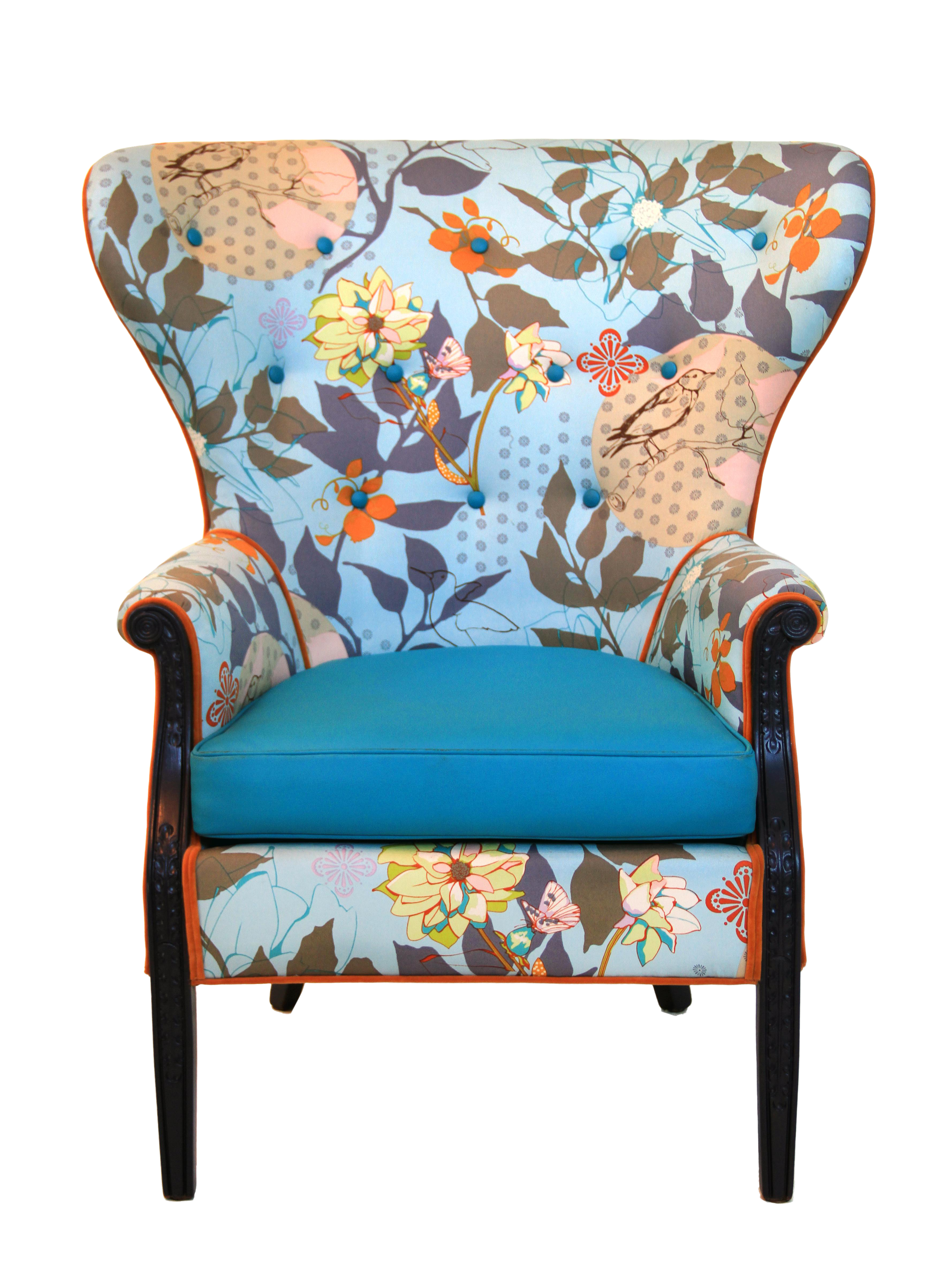 Magnificent 1960S Vintage Baby Blue Floral Wingback Accent Chair Pabps2019 Chair Design Images Pabps2019Com