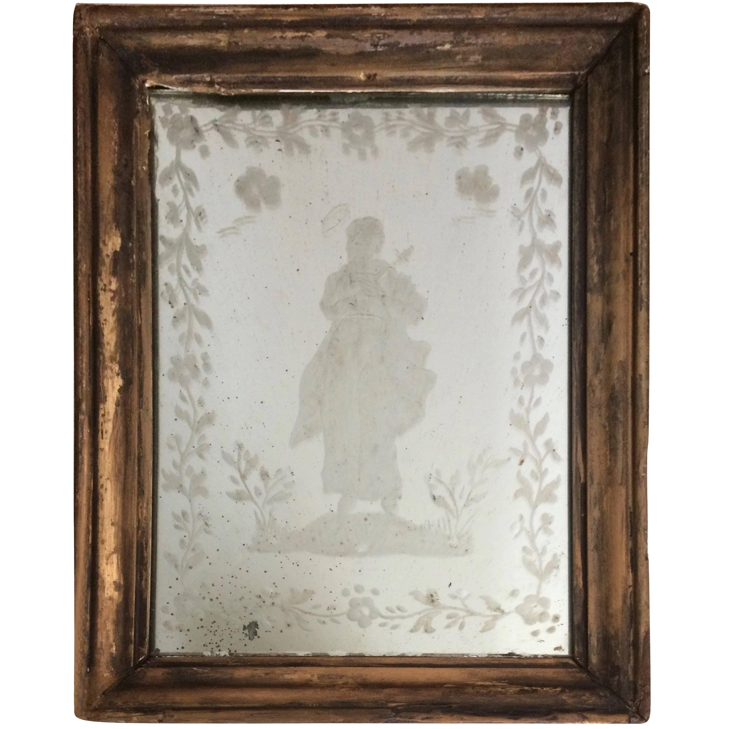 Charming Early Venetian Etched Mirror Chairish