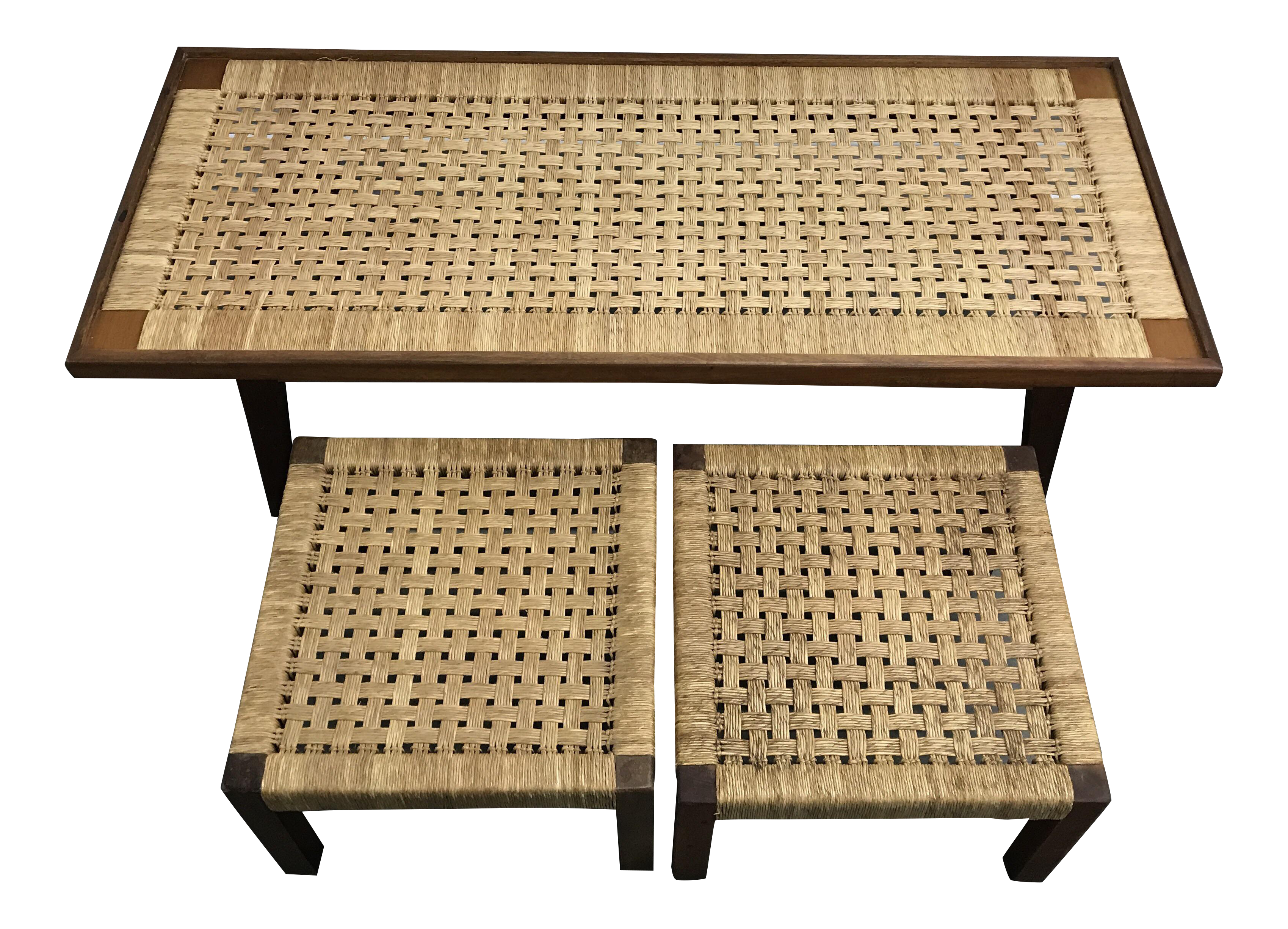 Mid Century Woven Rope Coffee Table & Stools Set of 3