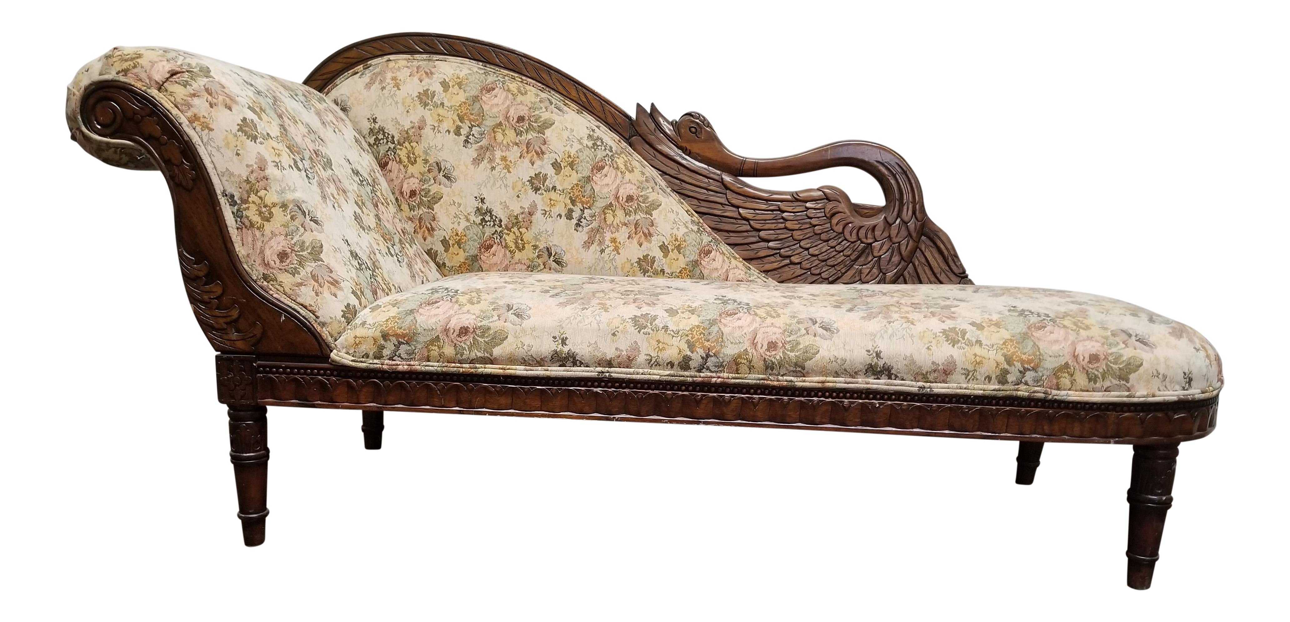- Antique Victorian Floral Swan Chaise Lounge Chairish
