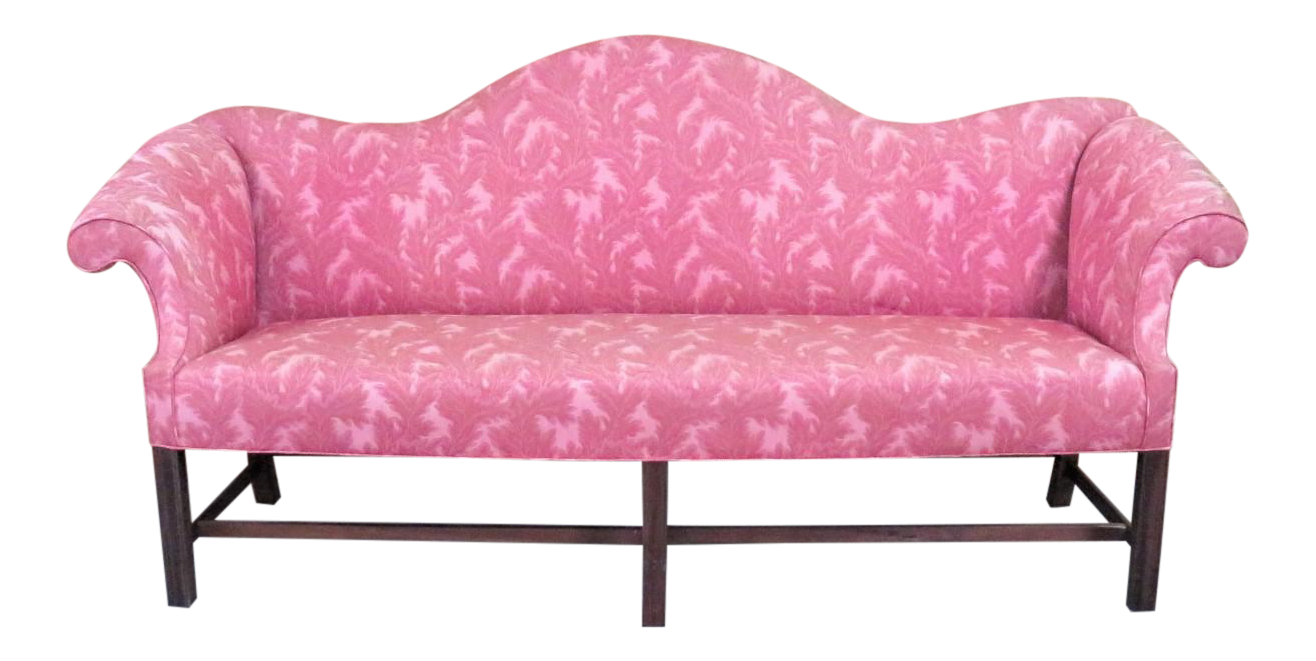 Delightful Antique Chippendale Camelback Marlboro Leg Sofa