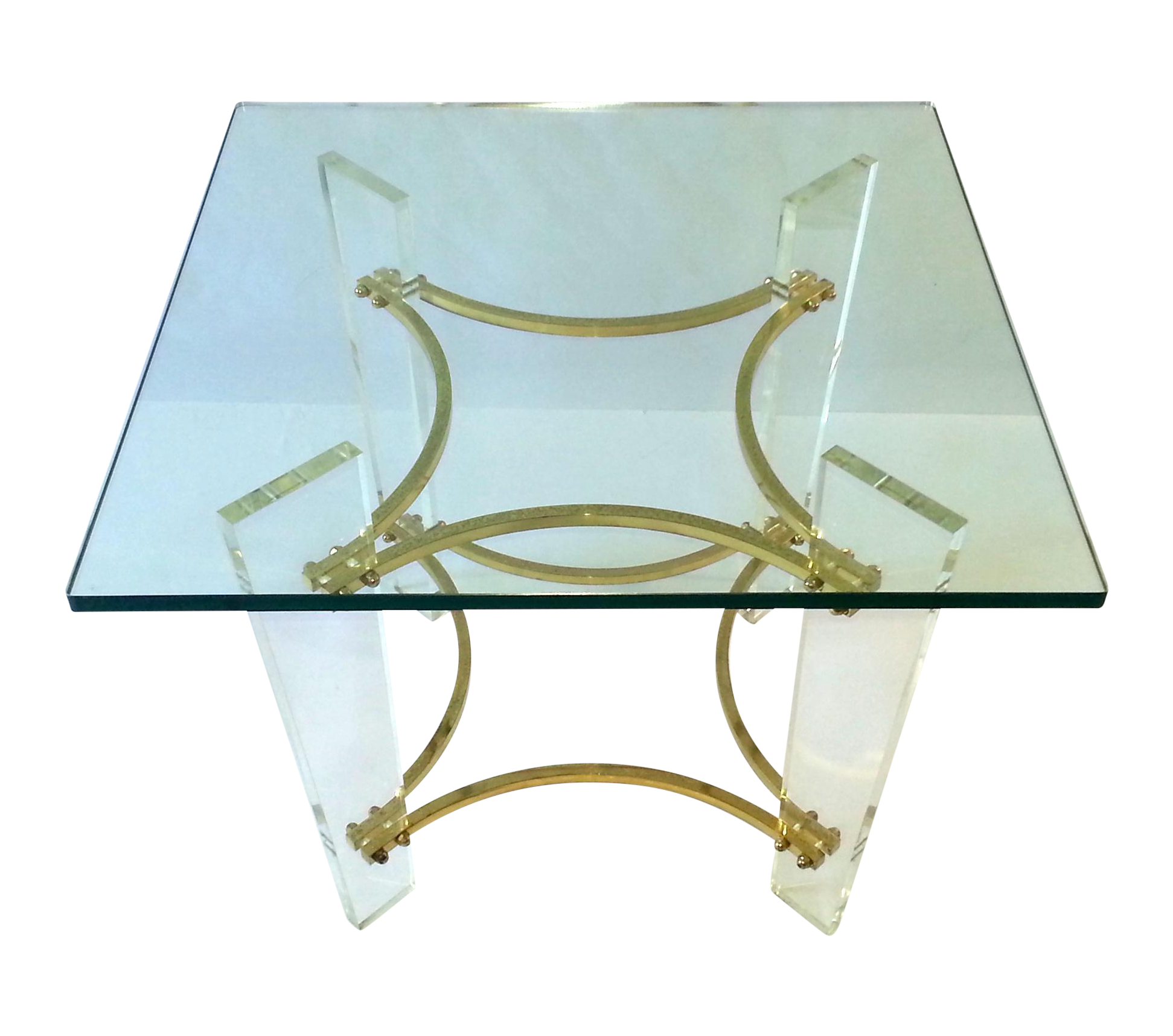 Vintage 1970 S Lucite Brass Amp Glass Coffee Table Chairish