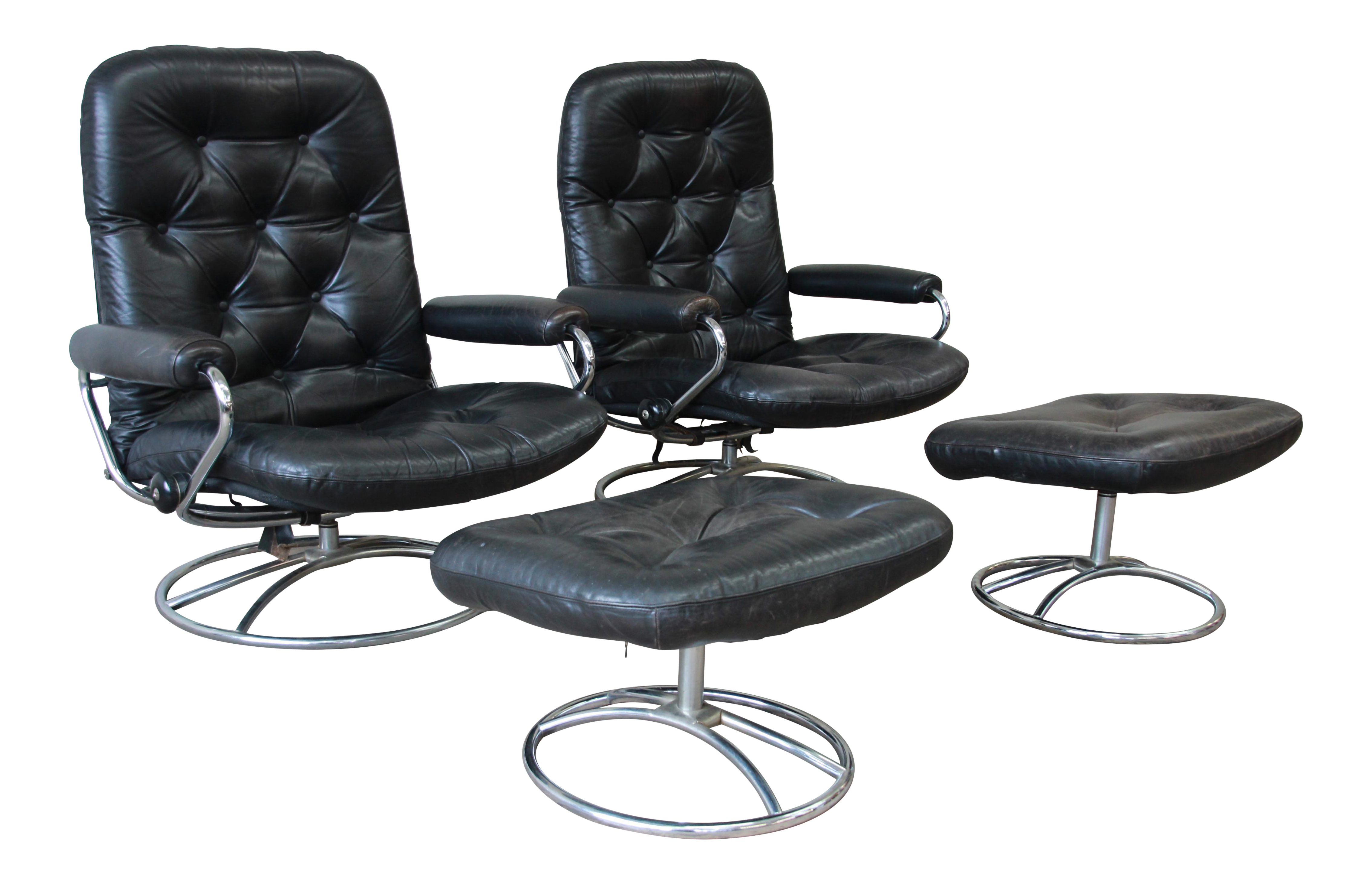 vintage black leather ekornes stressless lounge chairs ottomans