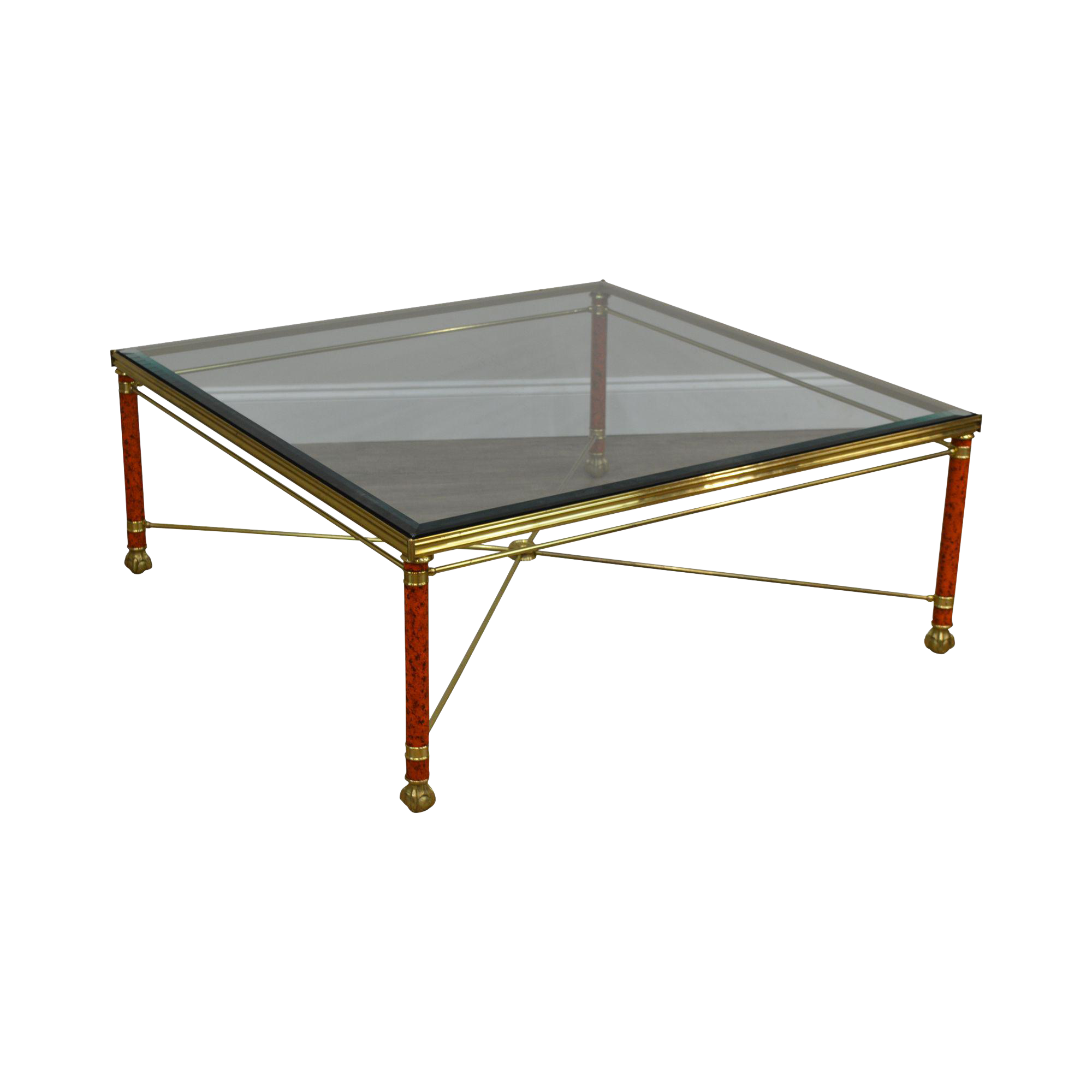 Labarge Large Square Brass Glass Coffee Table Chairish