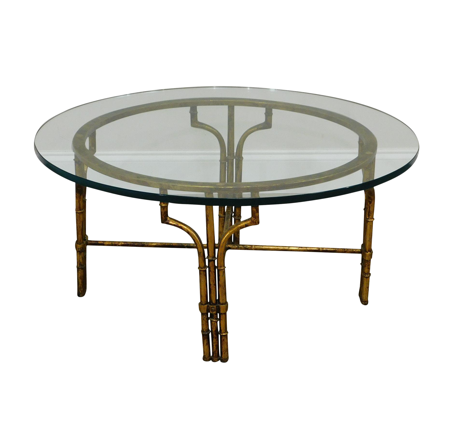 Faux Bamboo Gilt Metal Base Round Glass Top Coffee Table Chairish