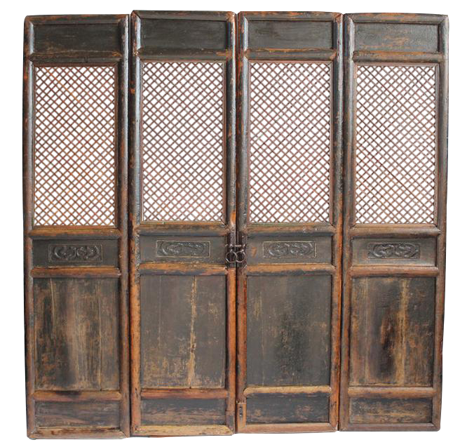 Antique Chinese Screen Door Panels- Set of 4 - Vintage & Used Asian Antique Screens And Room Dividers Chairish