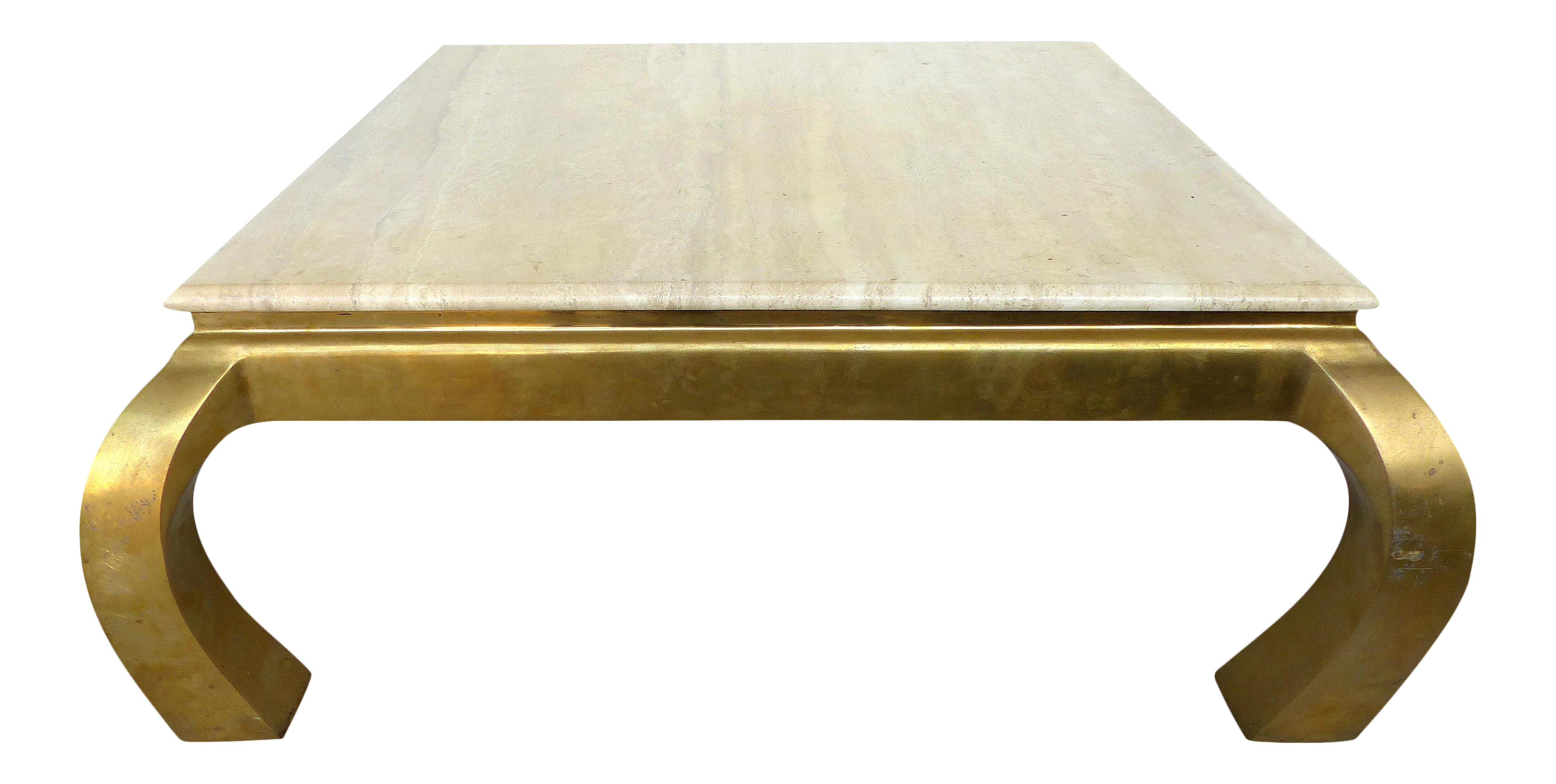 Mid Century Springer Style Brass & Travertine Coffee Table