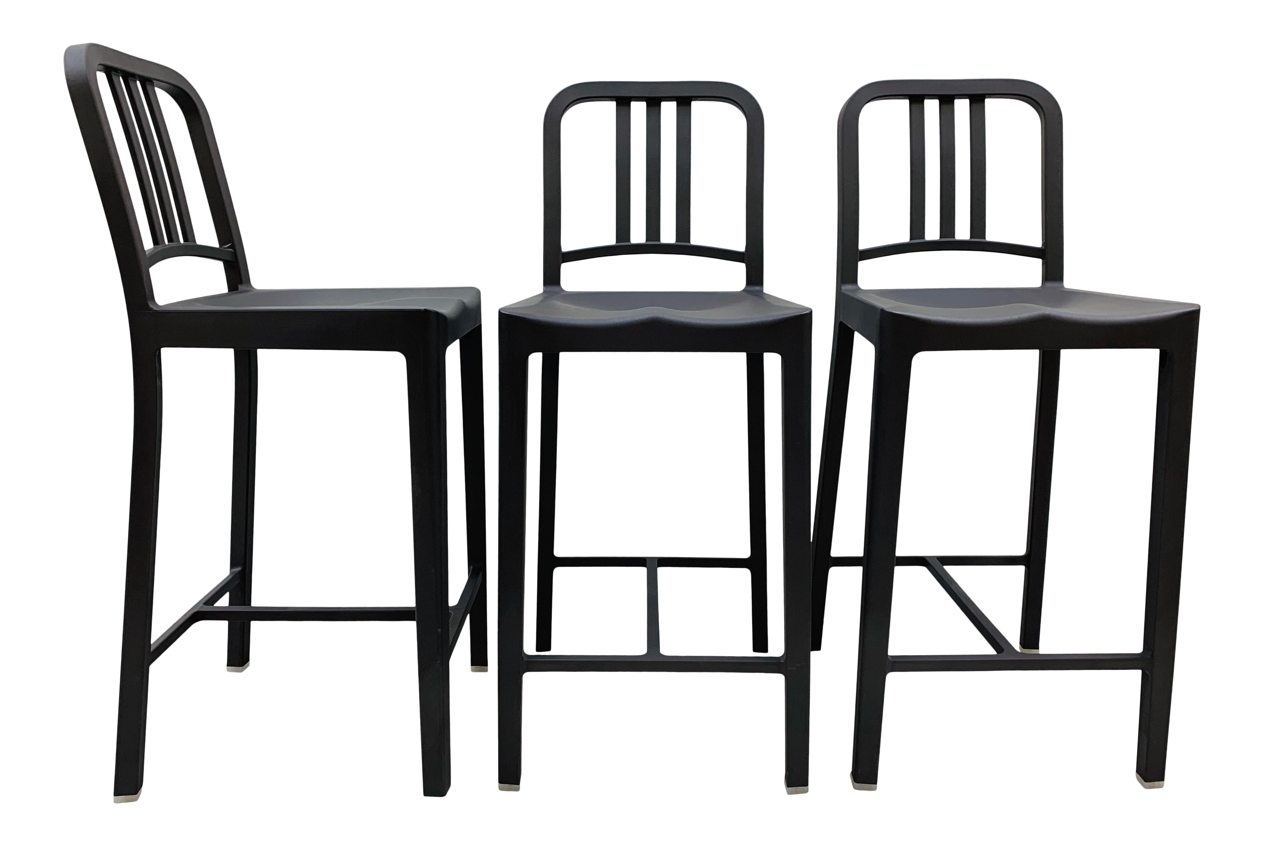 Remarkable Emeco 111 Navy Charcoal Grey Recycled Materials Counter Stools Set Of 3 Gmtry Best Dining Table And Chair Ideas Images Gmtryco