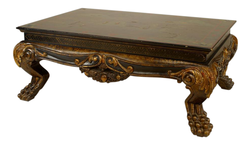 Distinguished Asian Chinese Style Carved And Lacquered Coffee Table Decaso