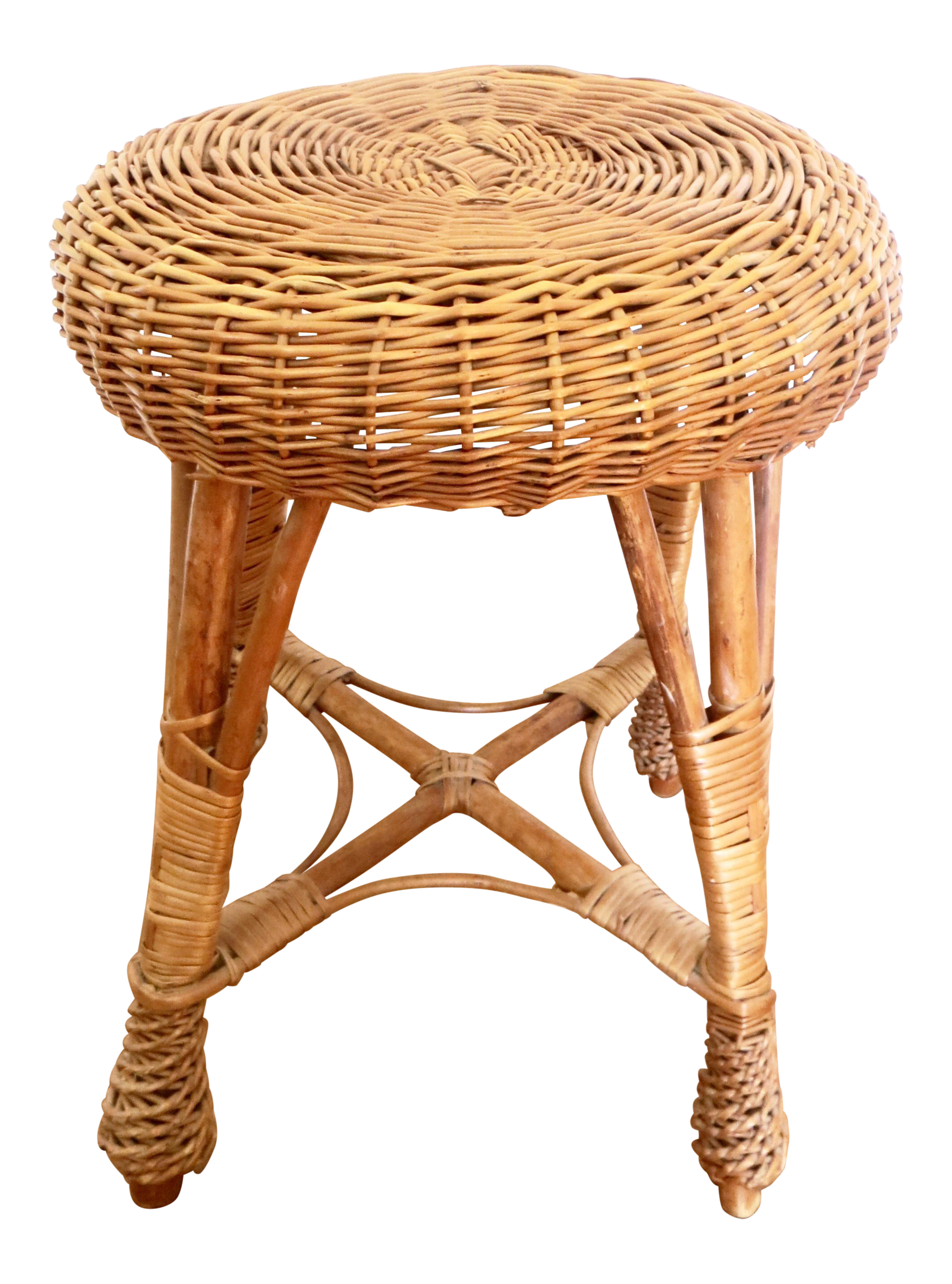 Groovy Vintage Round Woven Rattan Wicker Stool Or Plant Stand Onthecornerstone Fun Painted Chair Ideas Images Onthecornerstoneorg