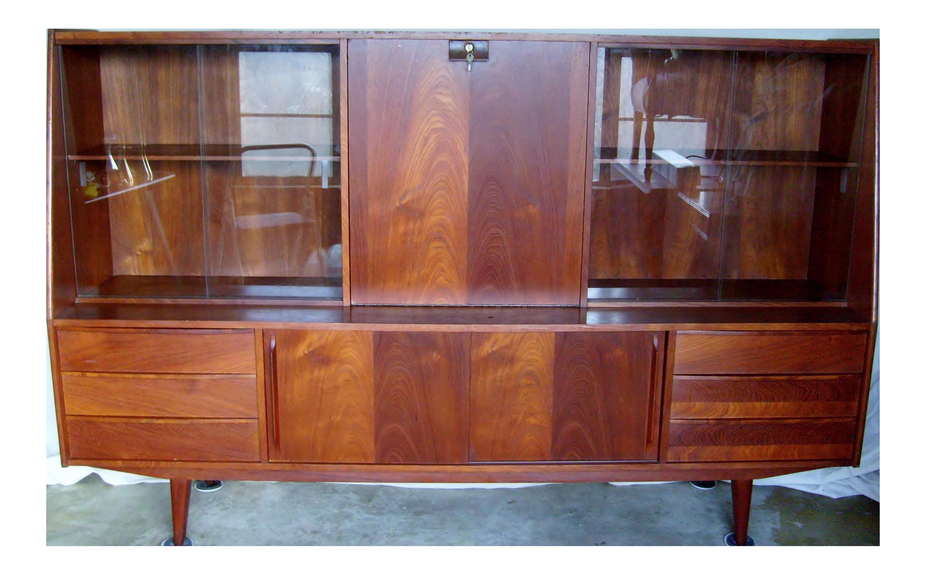 Danish Credenza Hutch : 7 ft. mid century danish modern teak credenza dry bar hutch chairish