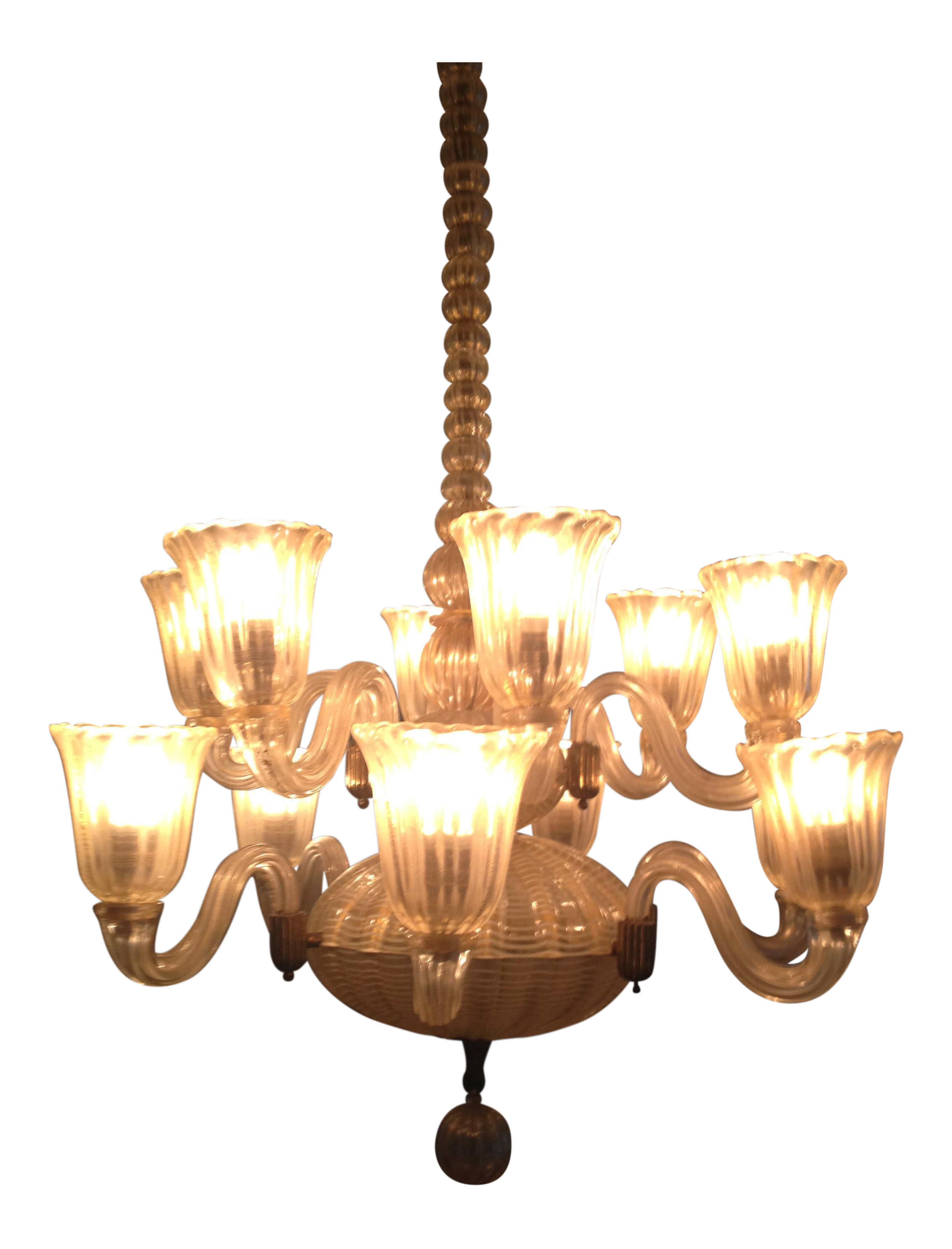 1940s 12 light venetian hand blown glass chandelier chairish for Kitchen cabinet trends 2018 combined with hand blown glass wall art