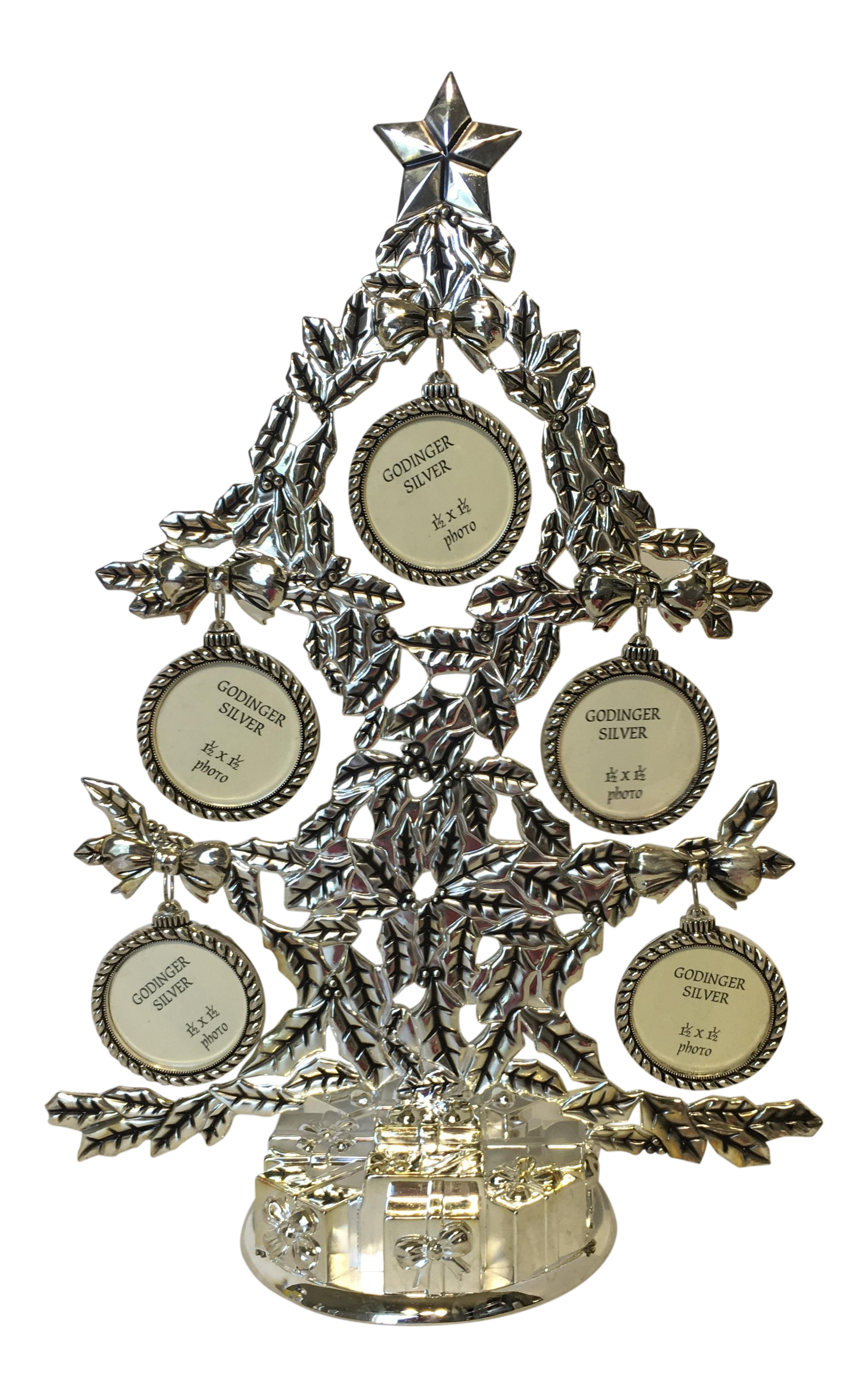 Godinger Silver-Plate Christmas Family Tree Photo Frame | Chairish