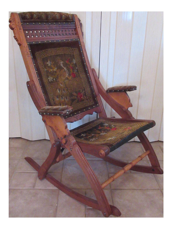 Victorian Eastlake Folding Rocking Chair