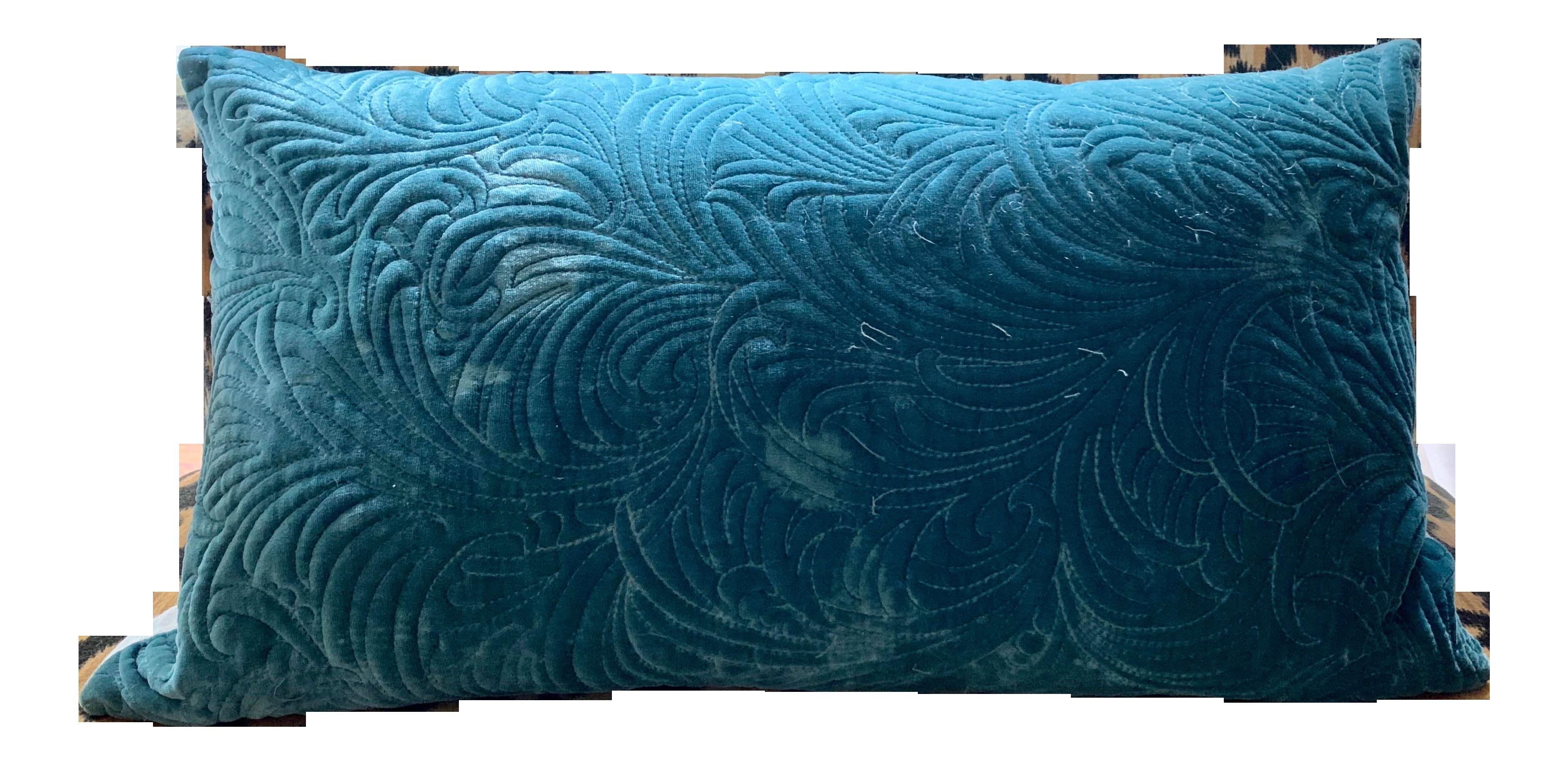 west elm teal velvet lumbar pillow