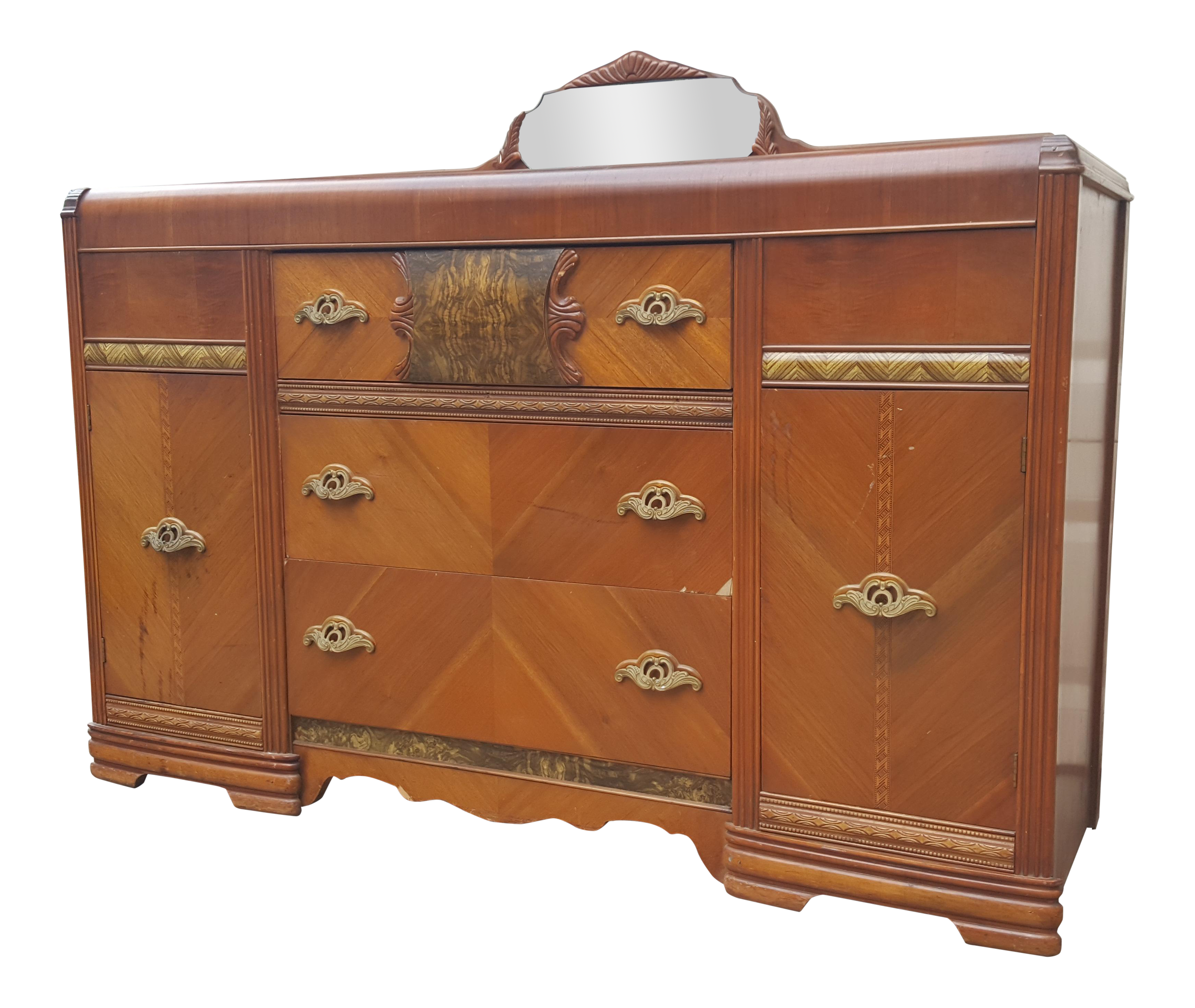 Antique Art Deco Waterfall Sideboard With Mirror Chairish