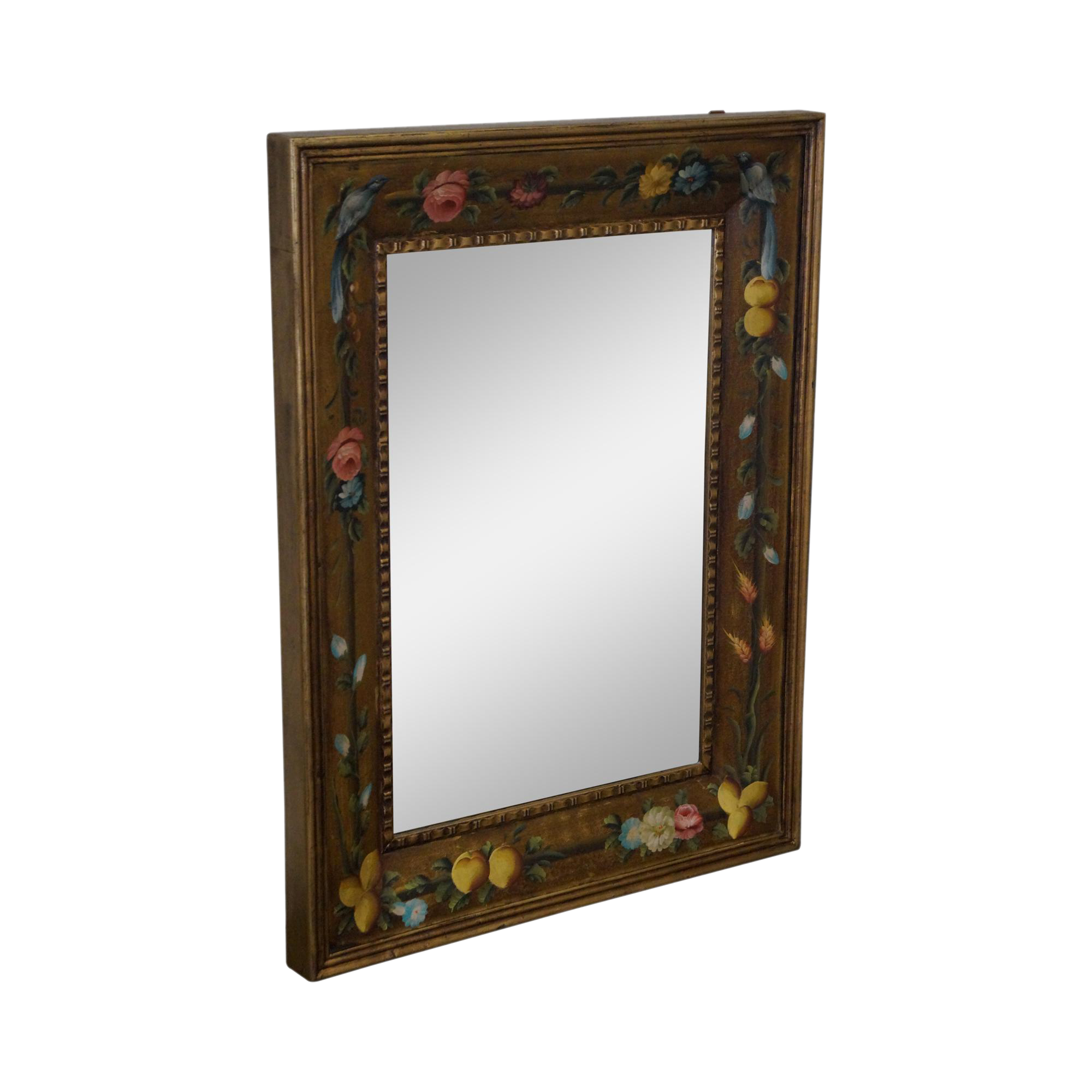 Floral Hand Painted Gilt Frame Beveled Wall Mirror | Chairish