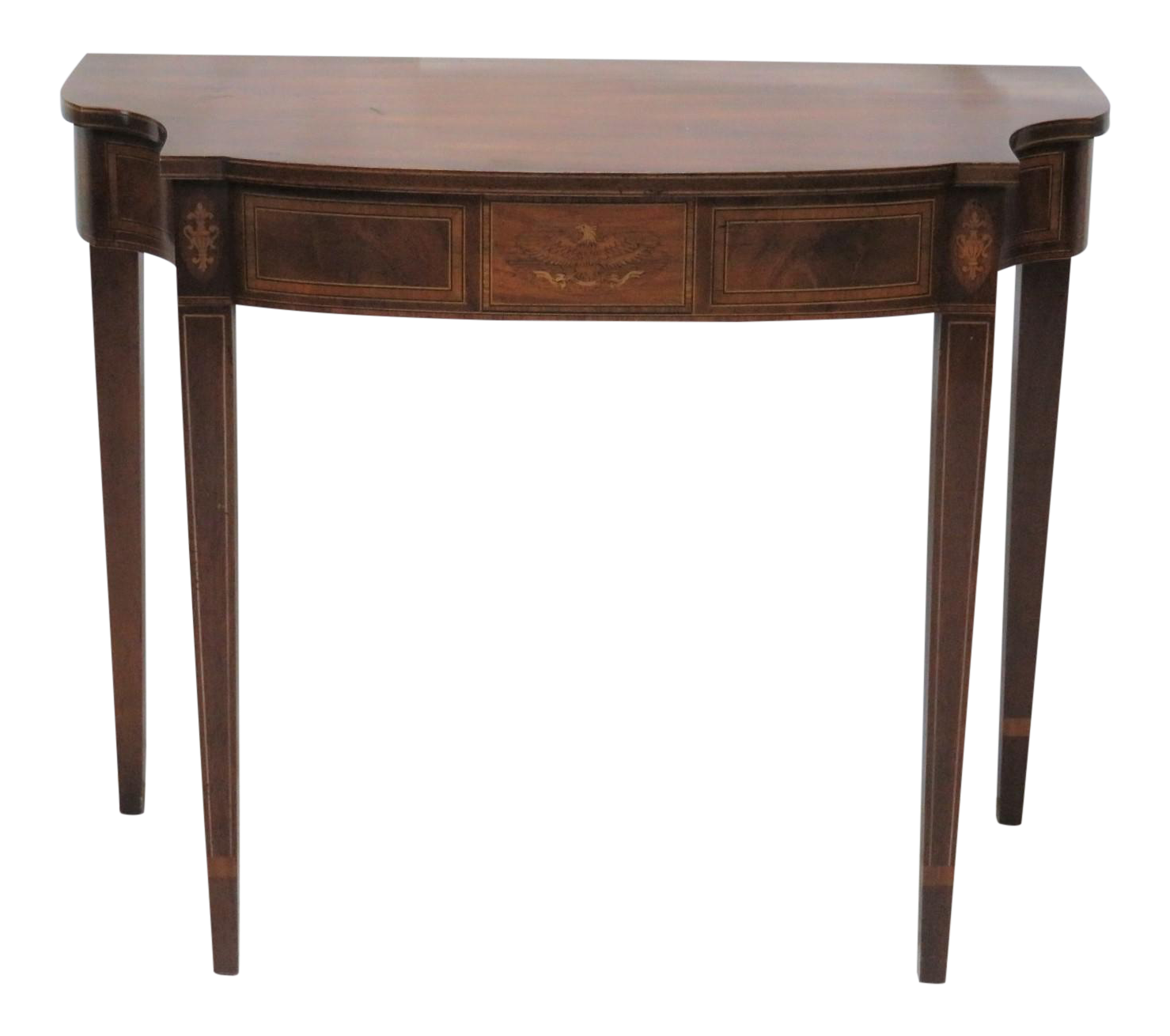 Hepplewhite inlaid demilune console table chairish - White demilune console table ...