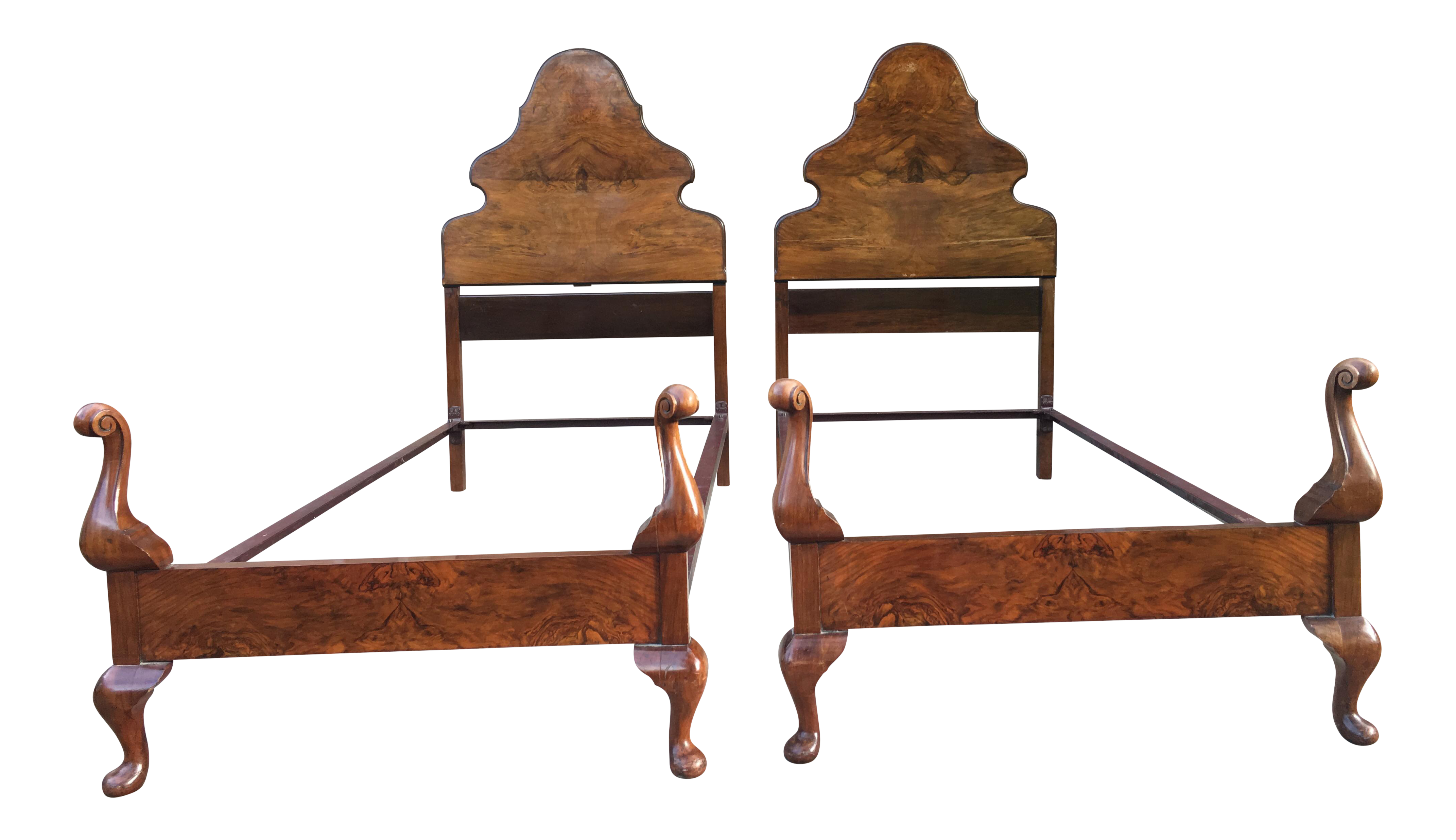 Antique Twin Bed Chestnut Frames - A Pair | Chairish