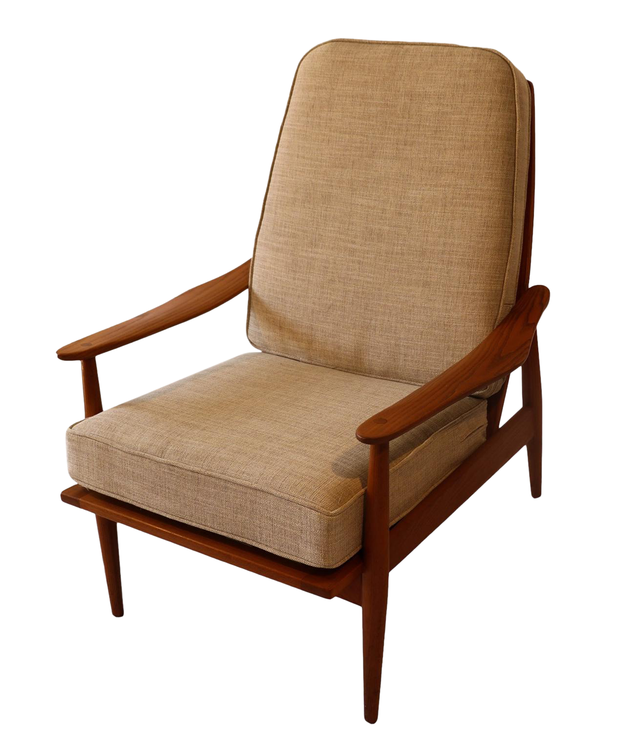 Mid Century Modernist High Back Or Desk Chair W New: Mid-Century Teak High Back Lounge Chair