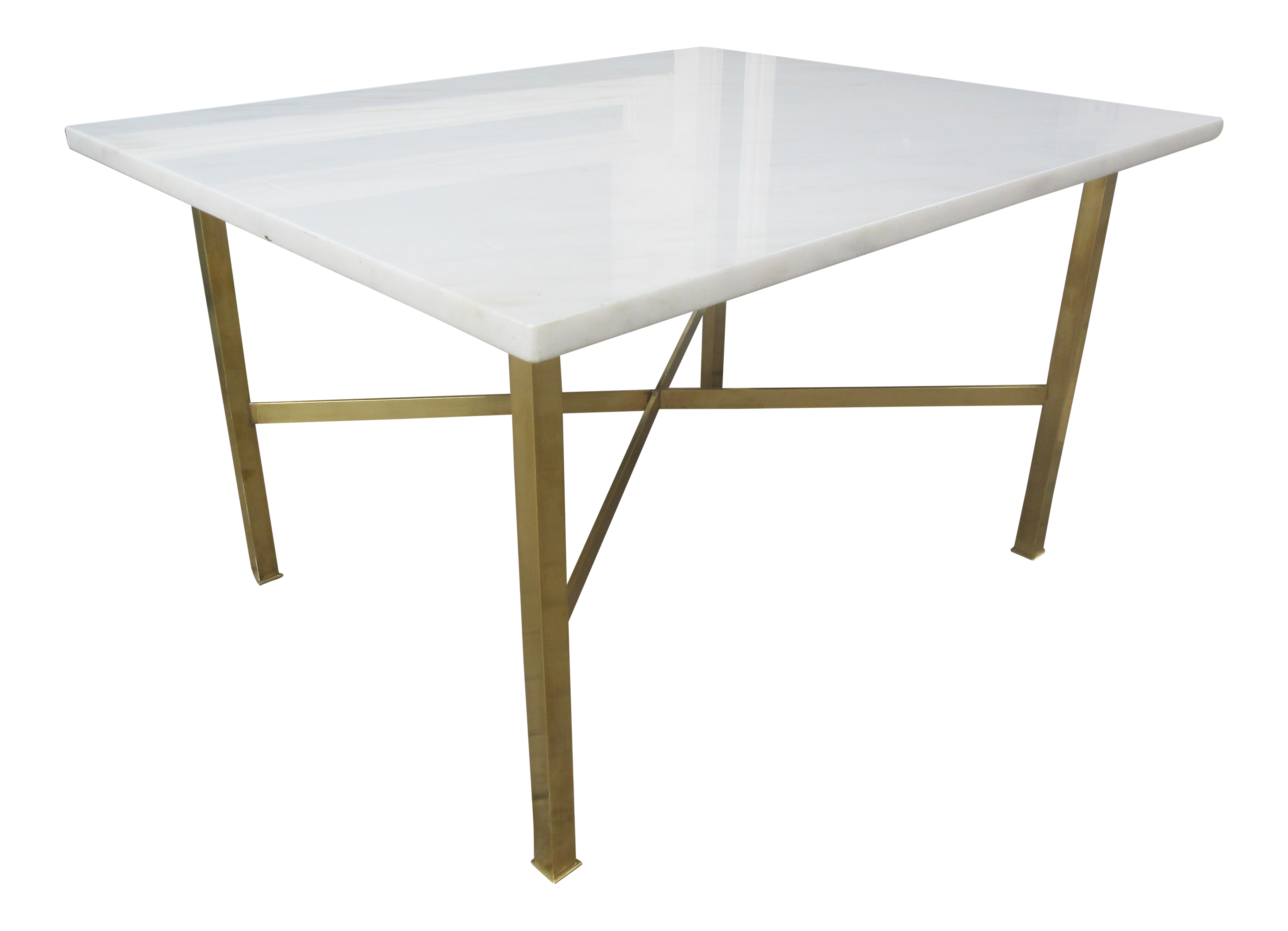 Exceptional Marble And Brass Coffeeend Table In The Style Of