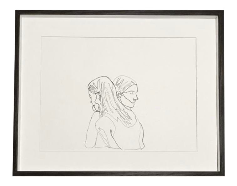 Modern Abstract Female Embrace Hand Sketch Framed Art Chairish