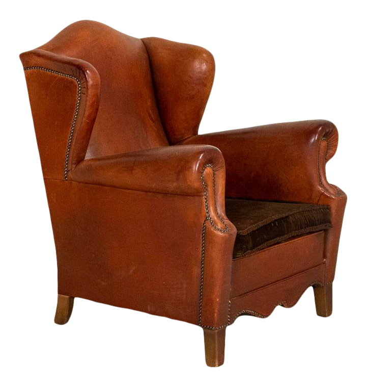 Vintage Leather Wingback Arm Chair Chairish