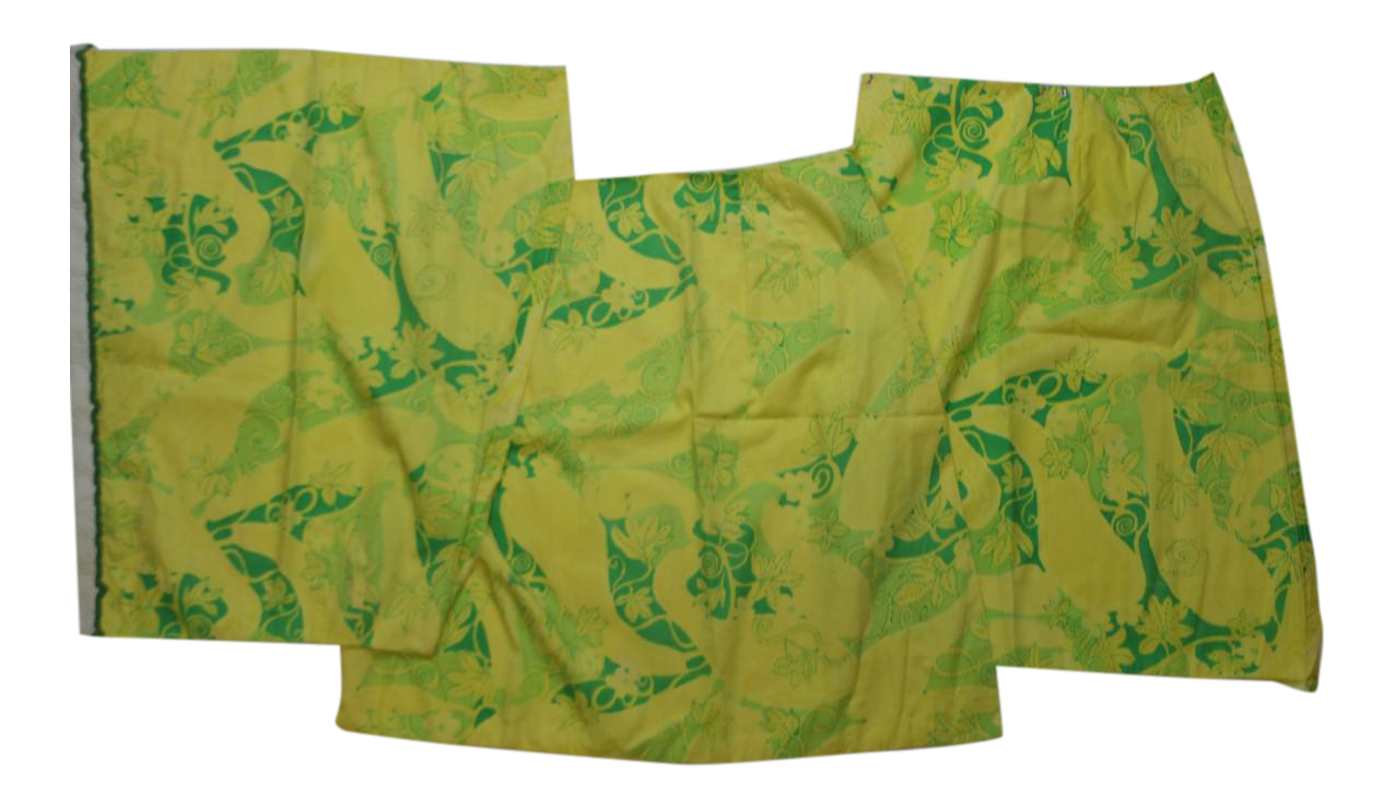 Lilly Pulitzer Green & Yellow Floral Pattern Fabric Swatches - Set ...