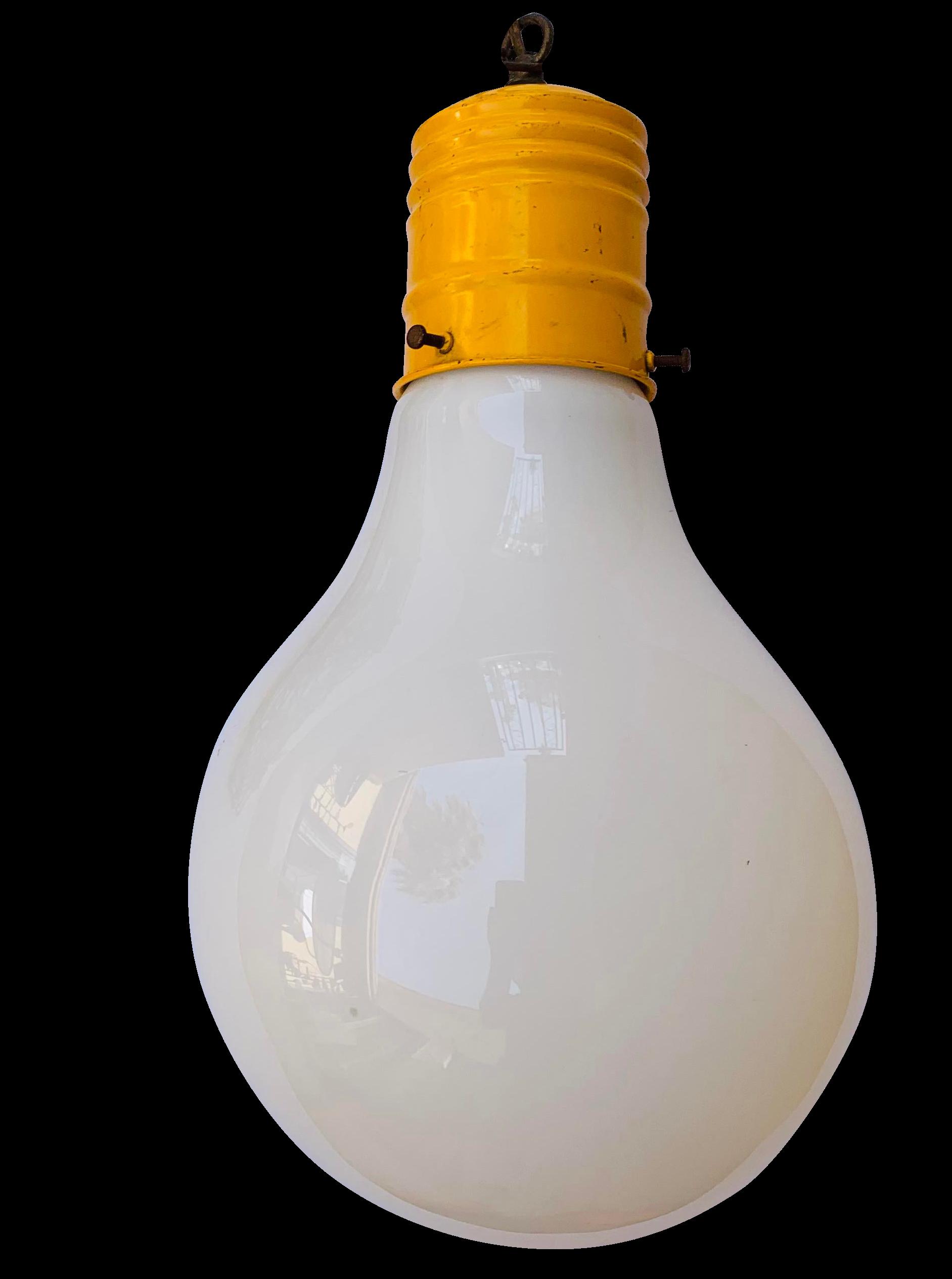 Vintage Mid Century Pop Art Giant Hanging Lightbulb Lamp