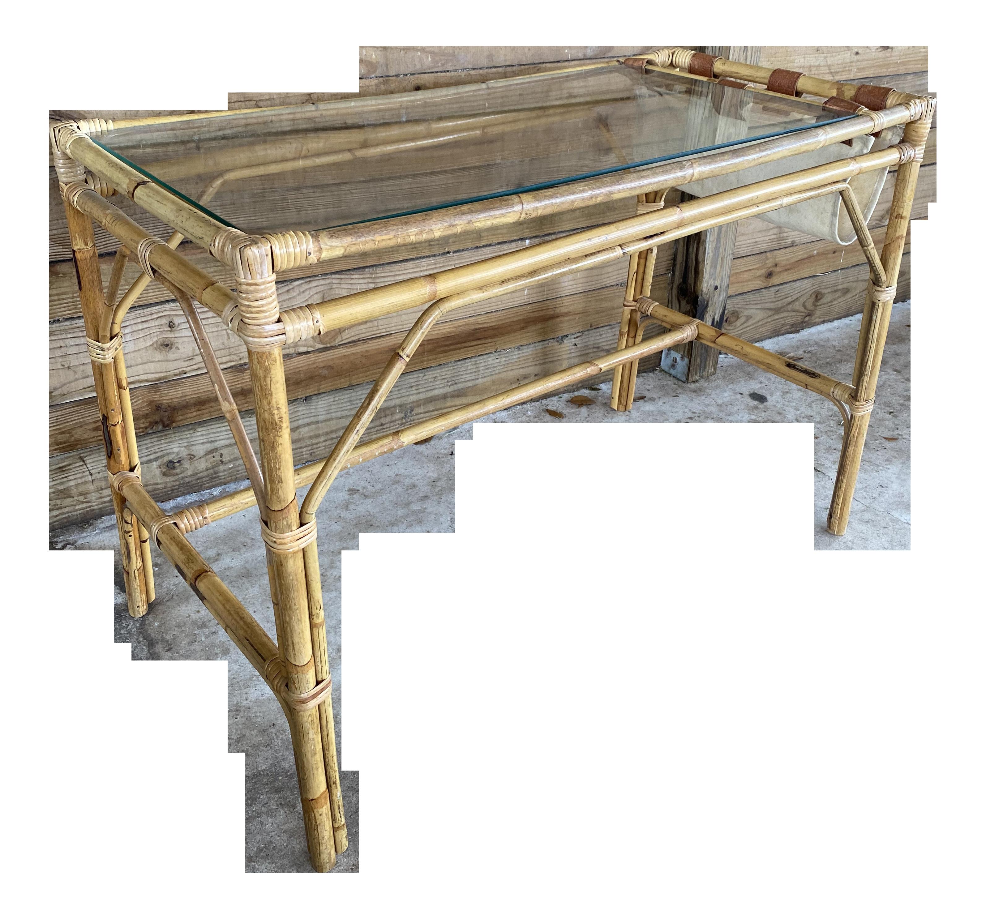Vintage Coastal Boho Chic Rattan Desk Chairish
