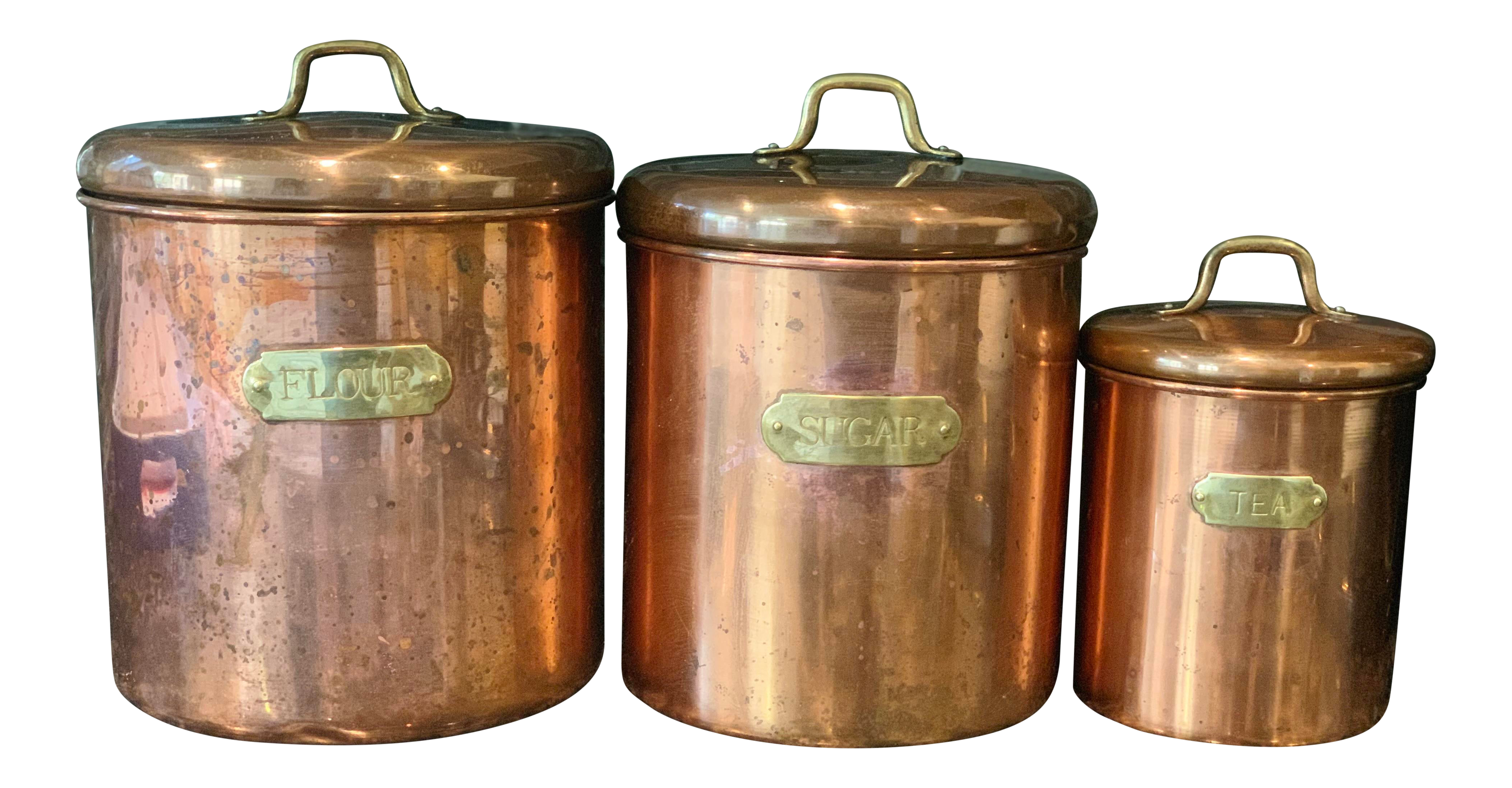 Vintage Copper and Brass Kitchen Canisters - Set of Three
