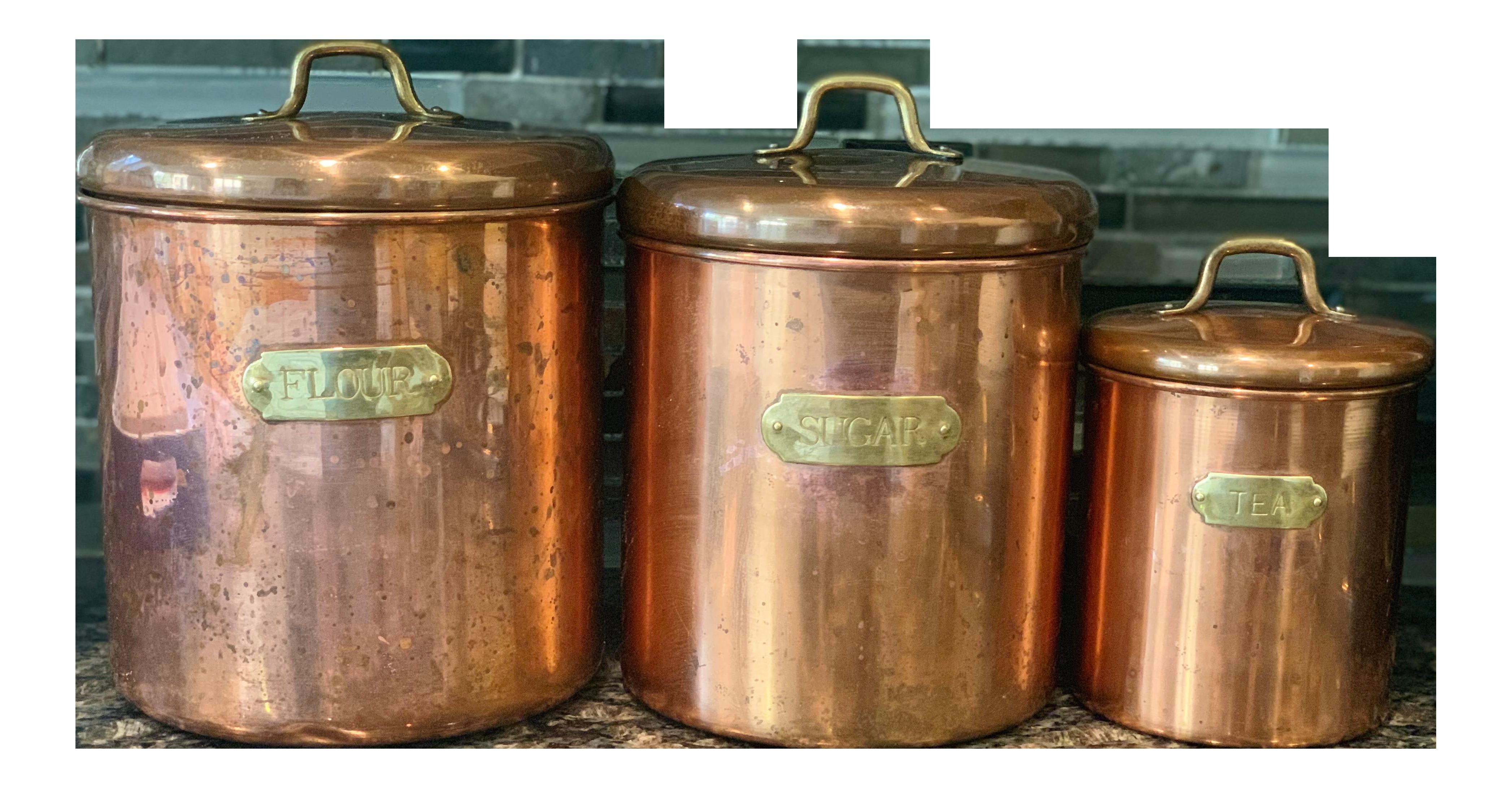 Antique Kitchen Canister Set 4 Piece Copper Decorative Copper Bronze Collectible Kitchen Dining Bar Kitchen Storage Organization