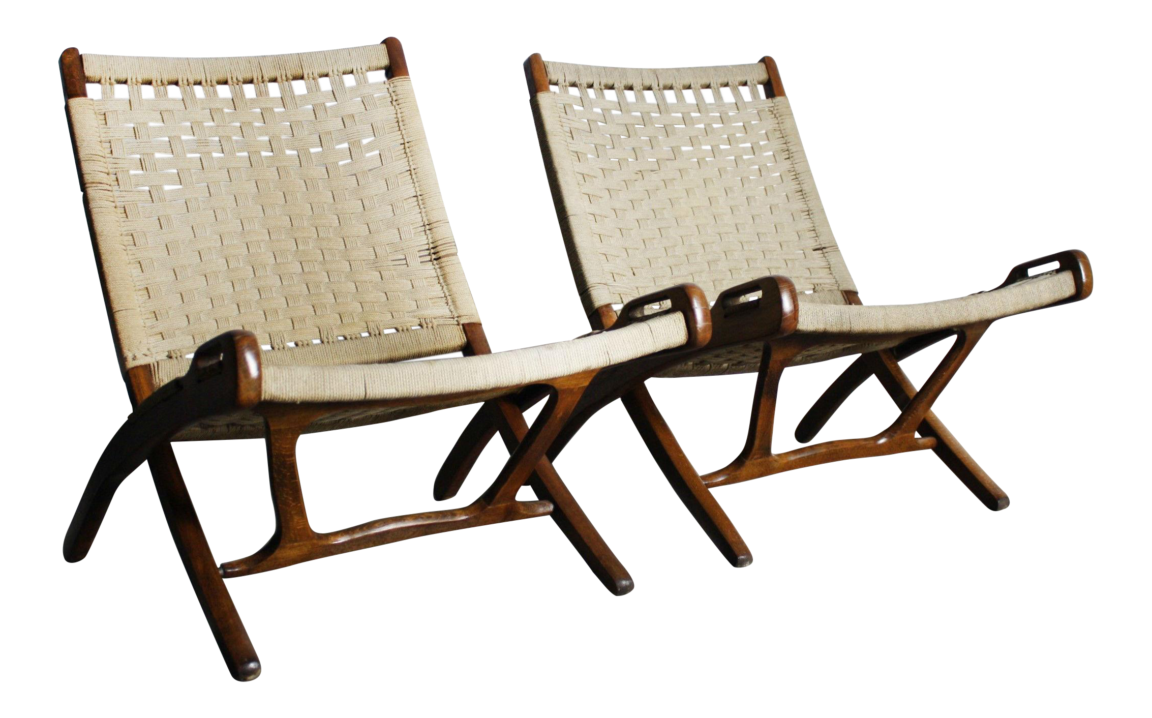 Mid Century Modern Yugoslavian Woven Folding Lounge Chairs Set