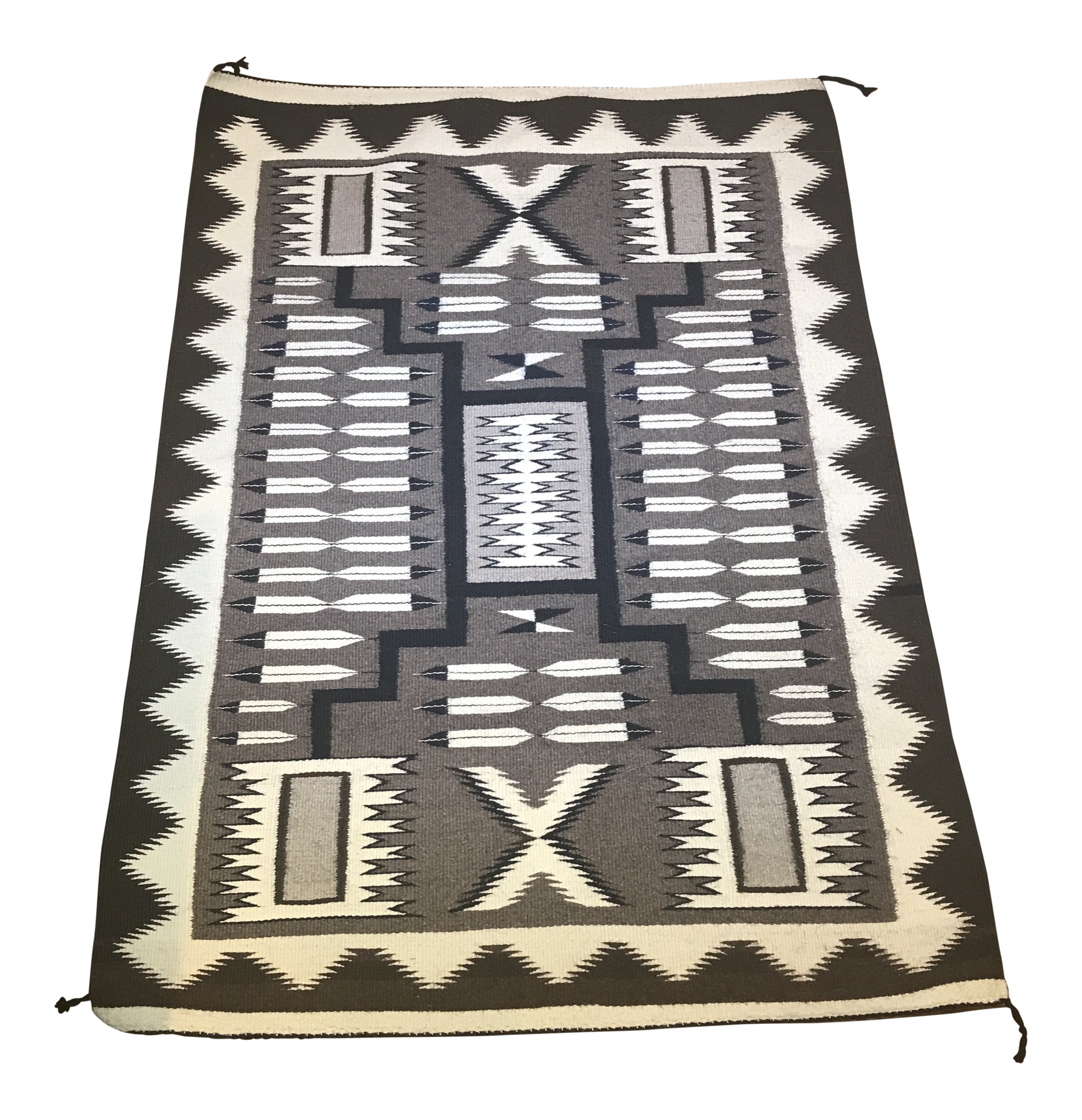 Mid-Century Navajo Two Grey Hills Storm Pattern Rug - 2′8″ × 3′10″ | Chairish