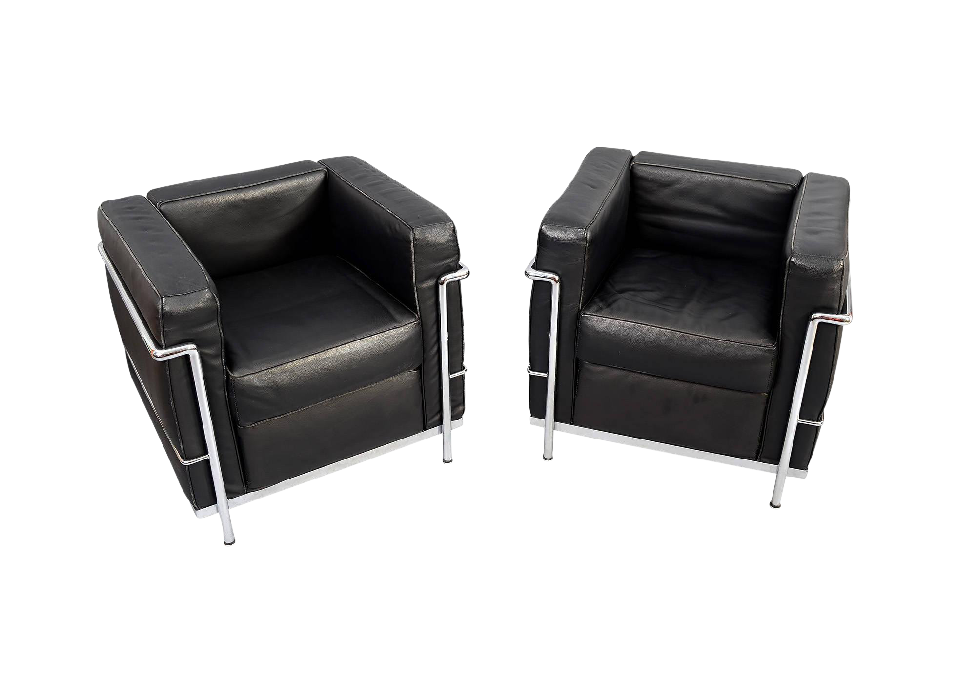 Charles Le Corbusier Lc2 Style Black Leather and Chrome Club Chairs - a Pair