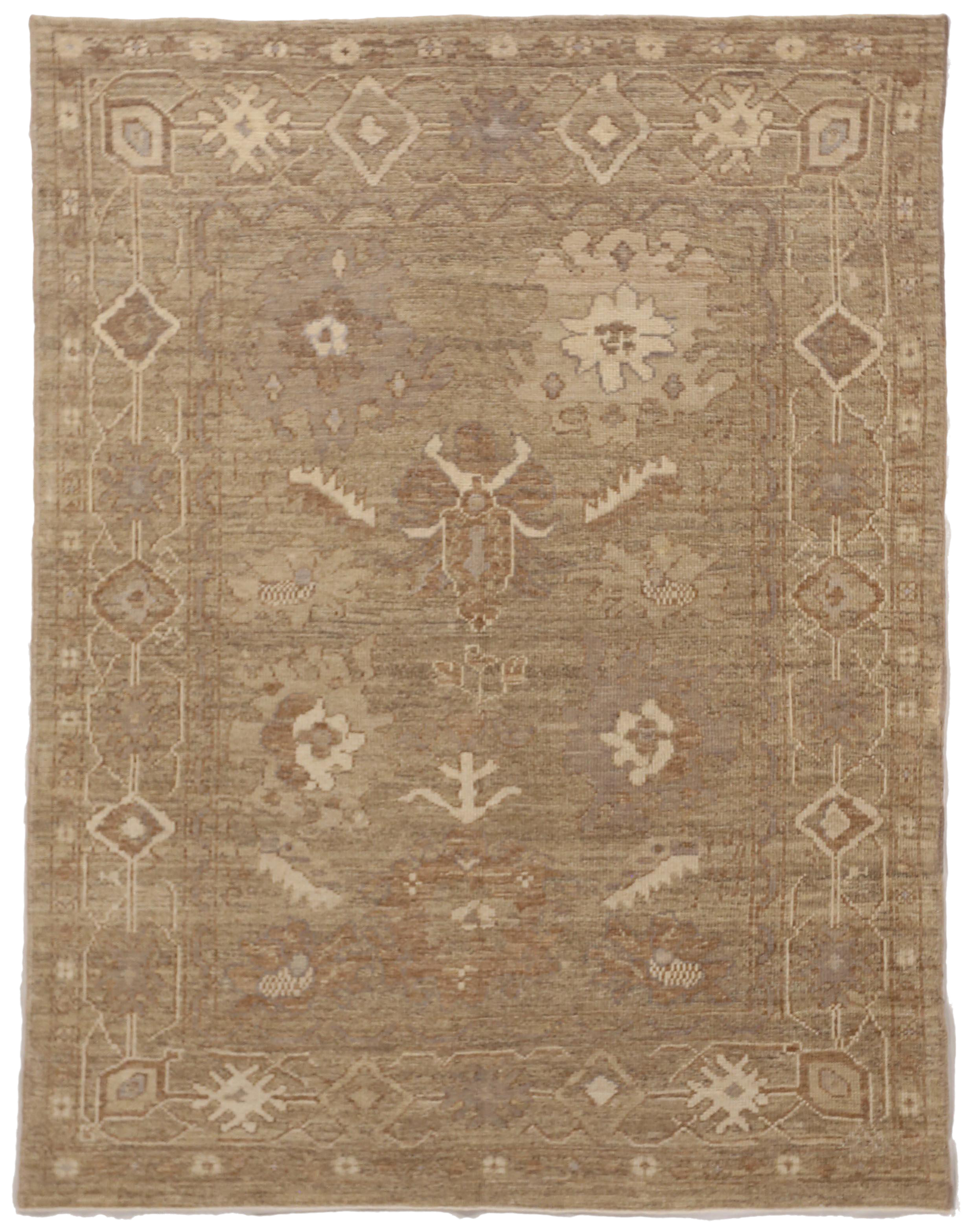 Contemporary Oushak Persian Rug With Mixed Floral And Geometric Designs