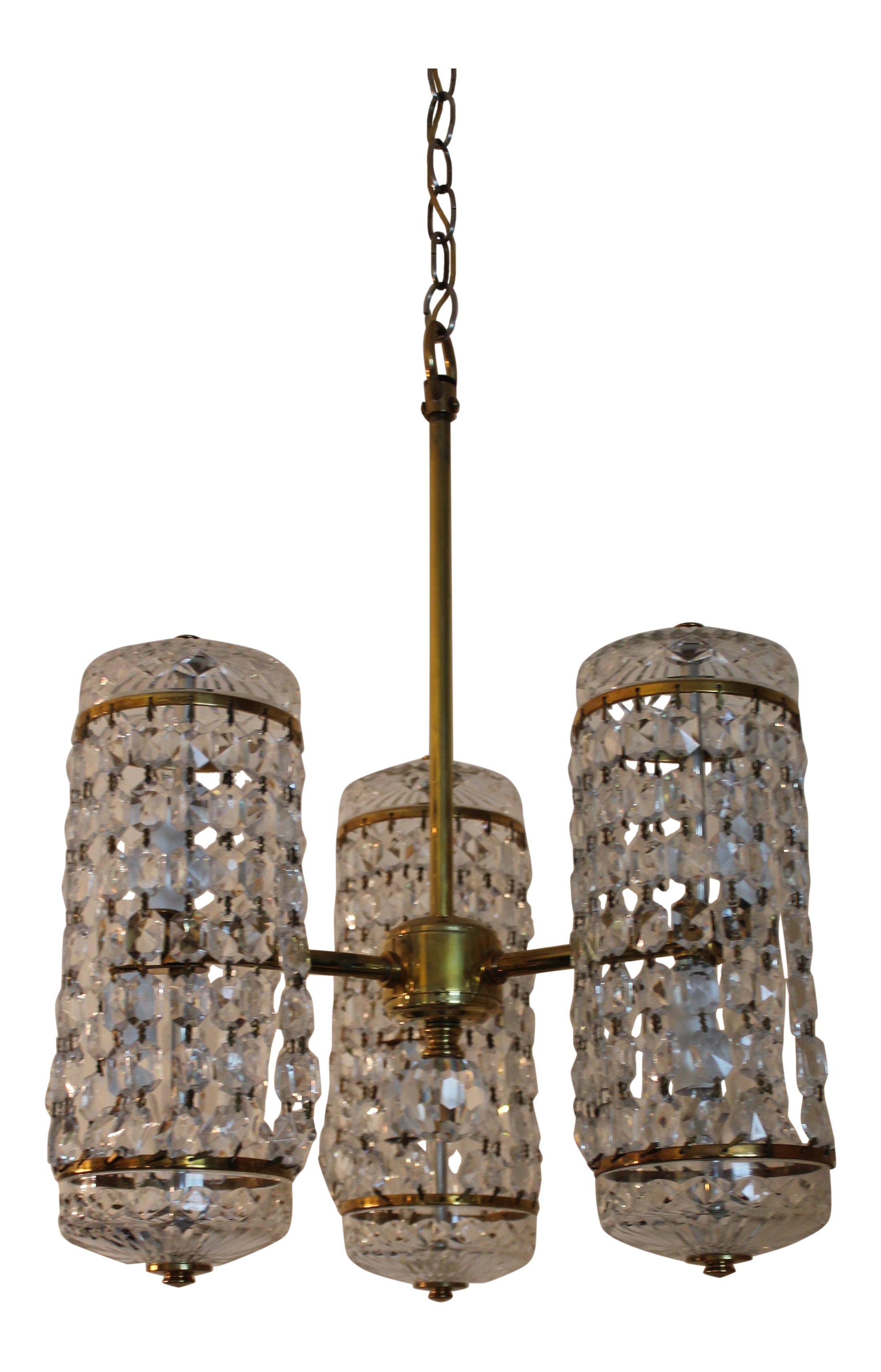 Mid Century Authentic Crystal Signed Chandelier by Waterford Circa