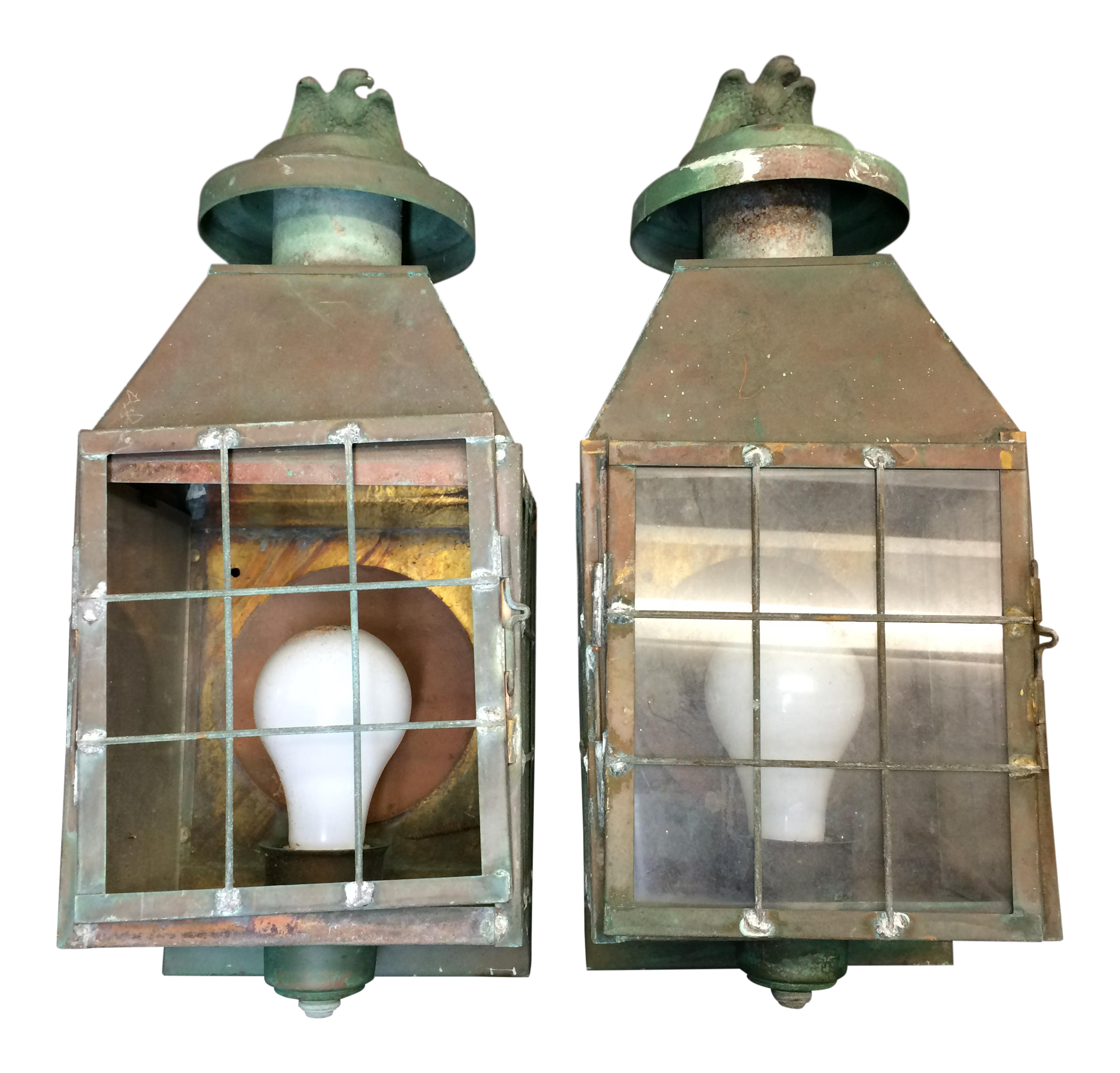 Vintage Copper Brass Eagle Outdoor Porch Lights A Pair Chairish