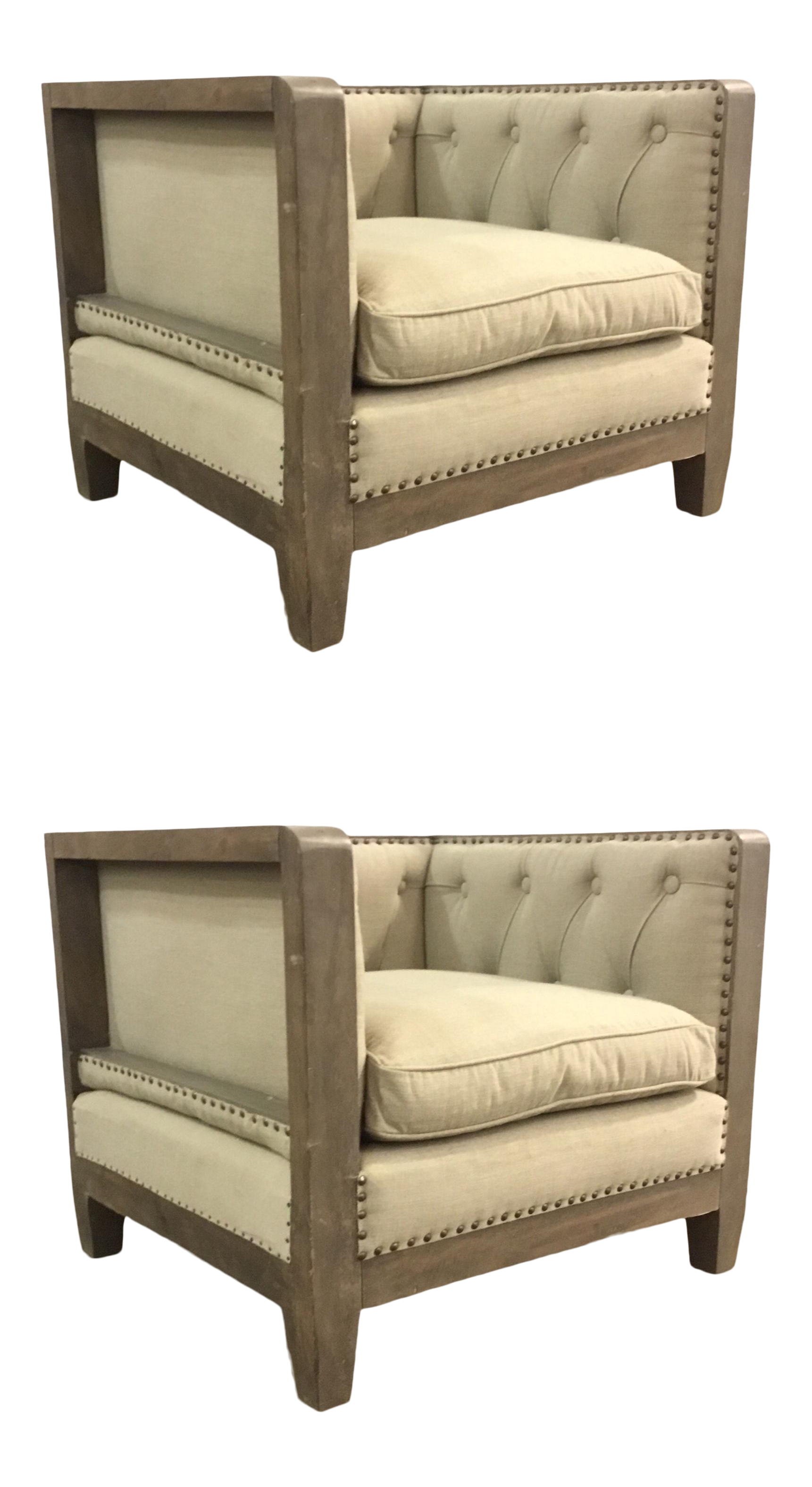Outstanding Organic Modern Small Wood Trim Beige Linen Club Chairs Pair Gamerscity Chair Design For Home Gamerscityorg