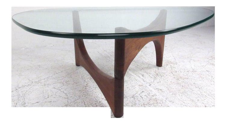 Mid Century Modern Noguchi Style Triangular Glass Top Coffee Table Chairish