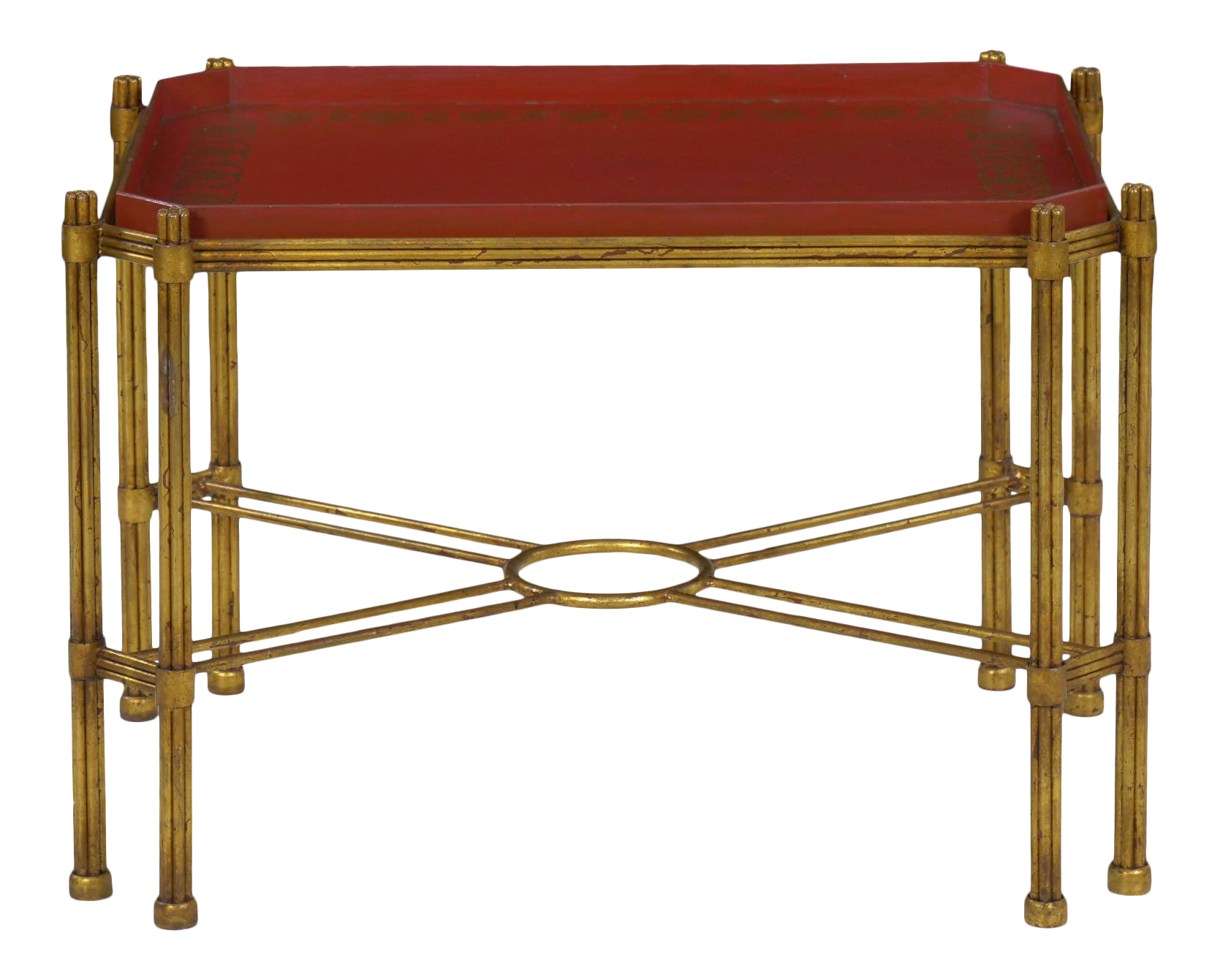 Vintage Gilt Iron Cocktail Table With Red Painted Wooden Tray, 20th Century  | Chairish