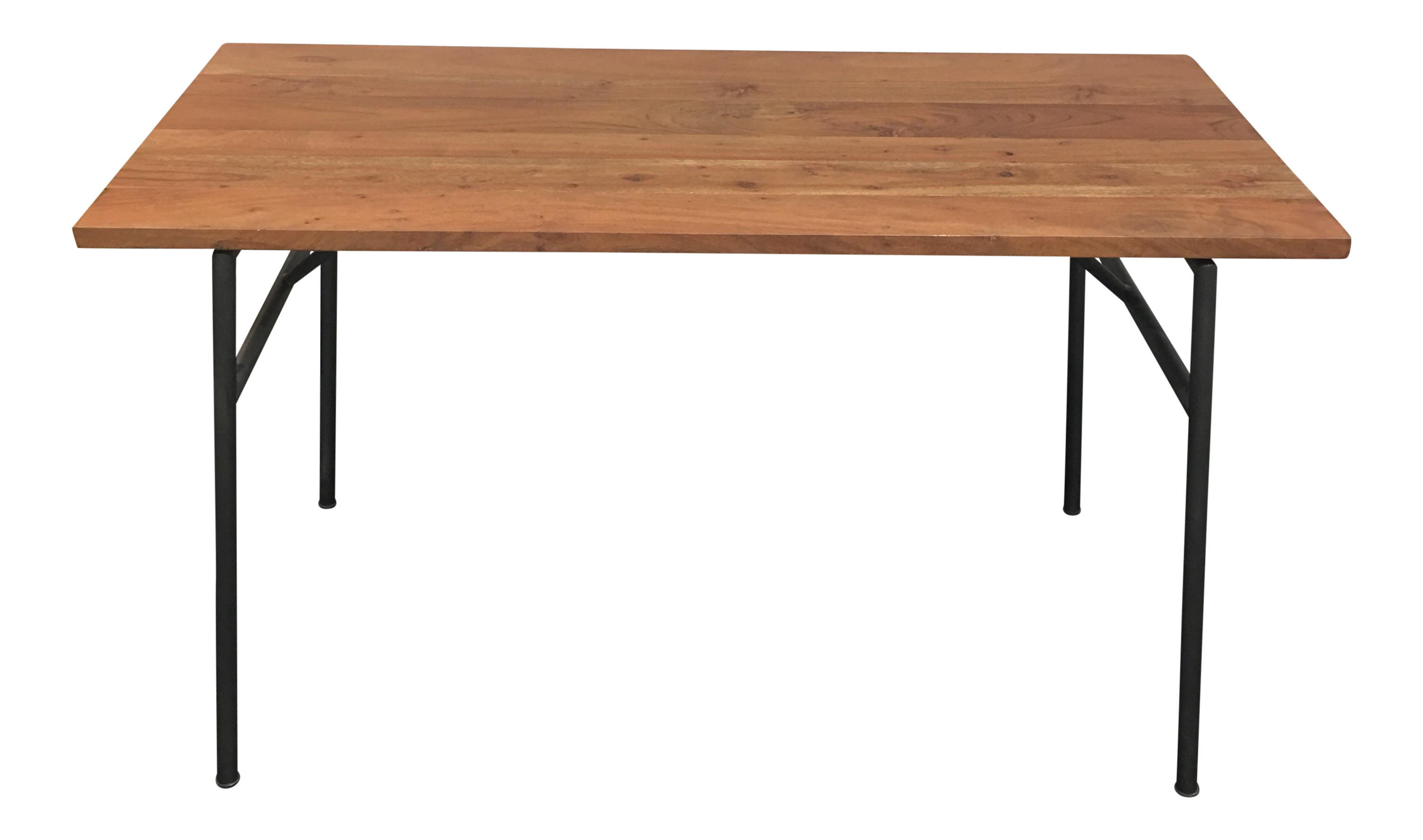 Cb2 solid wood top and metal frame desk chairish for Metal desk with wood top