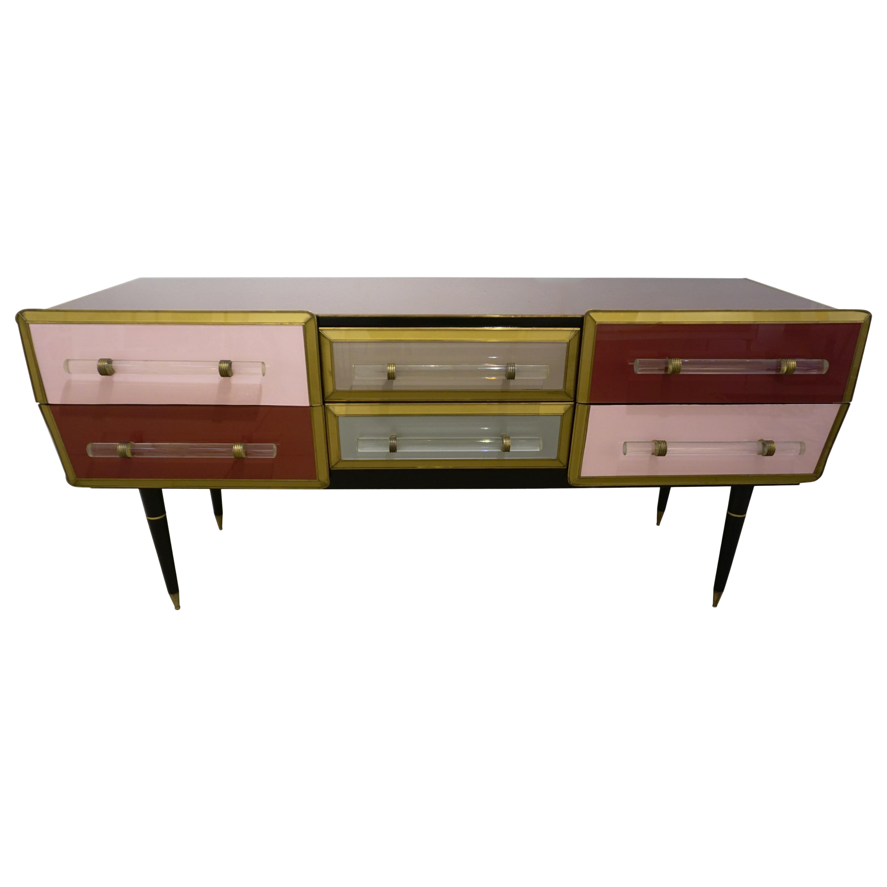 Superior 1960 Italian Vintage Rose Pink Gray Wine Gold 6 Drawers