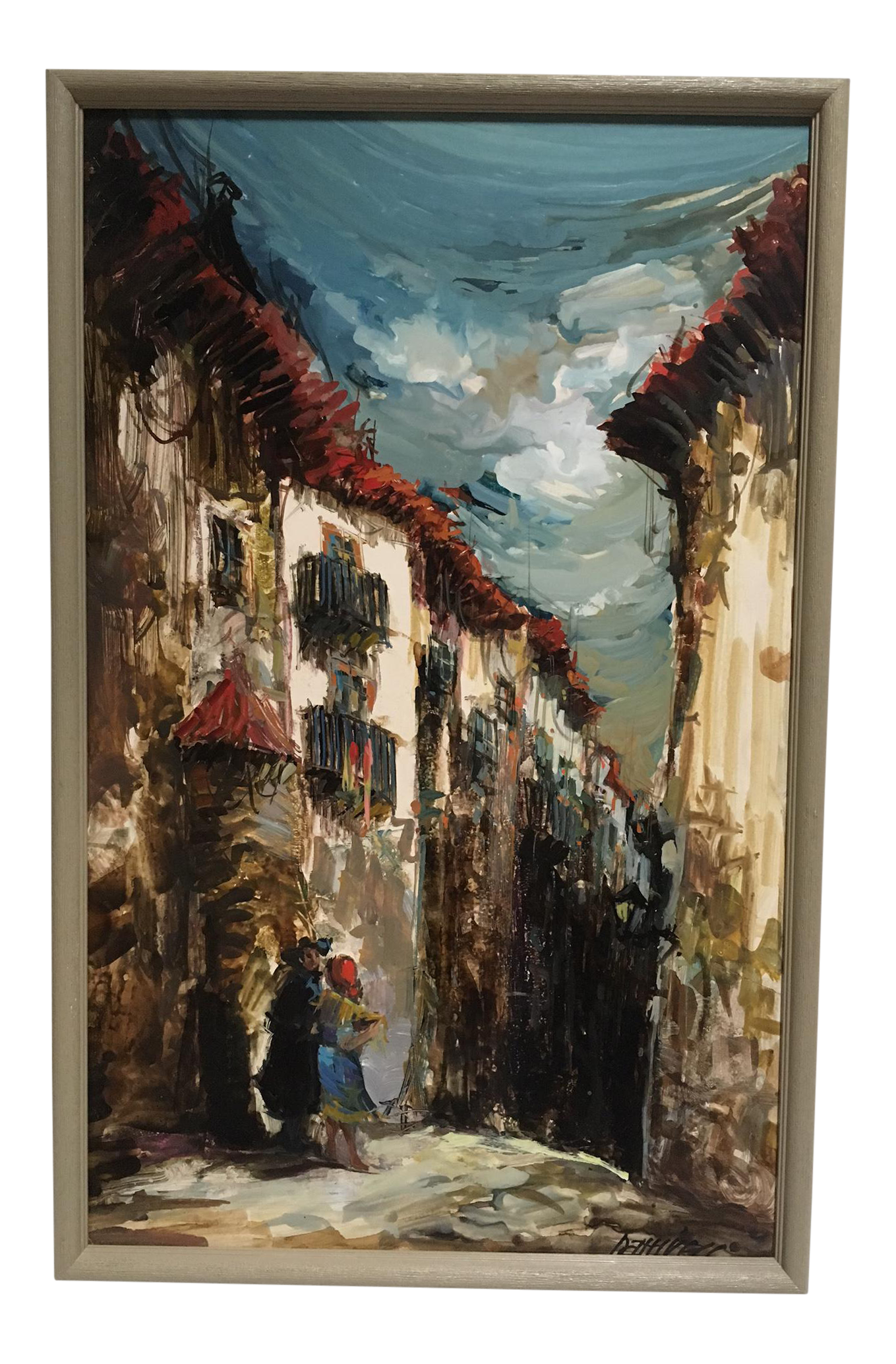 European Village Scene Painting | Chairish